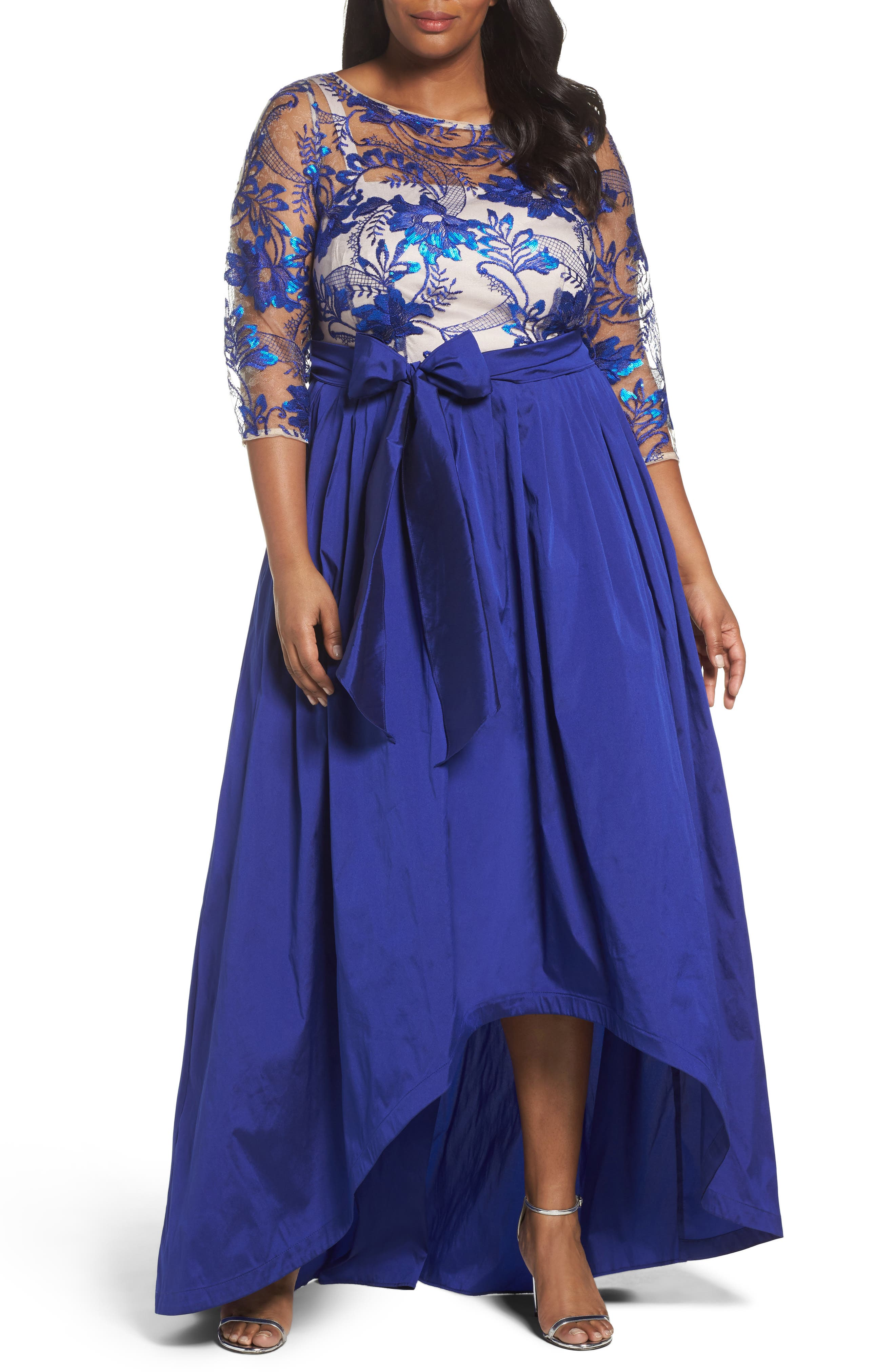 ADRIANNA PAPELL Floral Flutter Embellished High/Low Gown