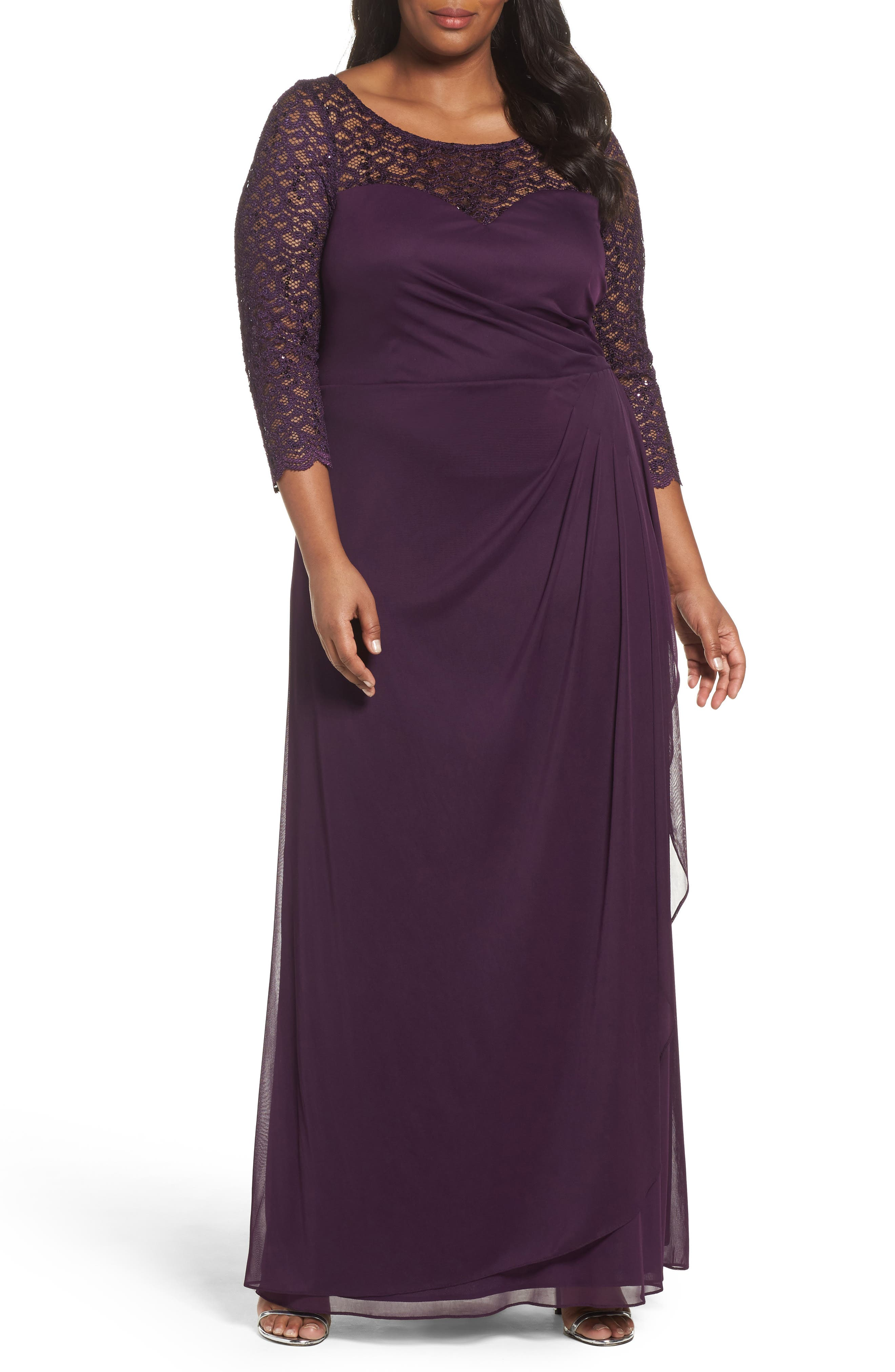 Lace & Matte Jersey Gown,                             Main thumbnail 1, color,                             Plum