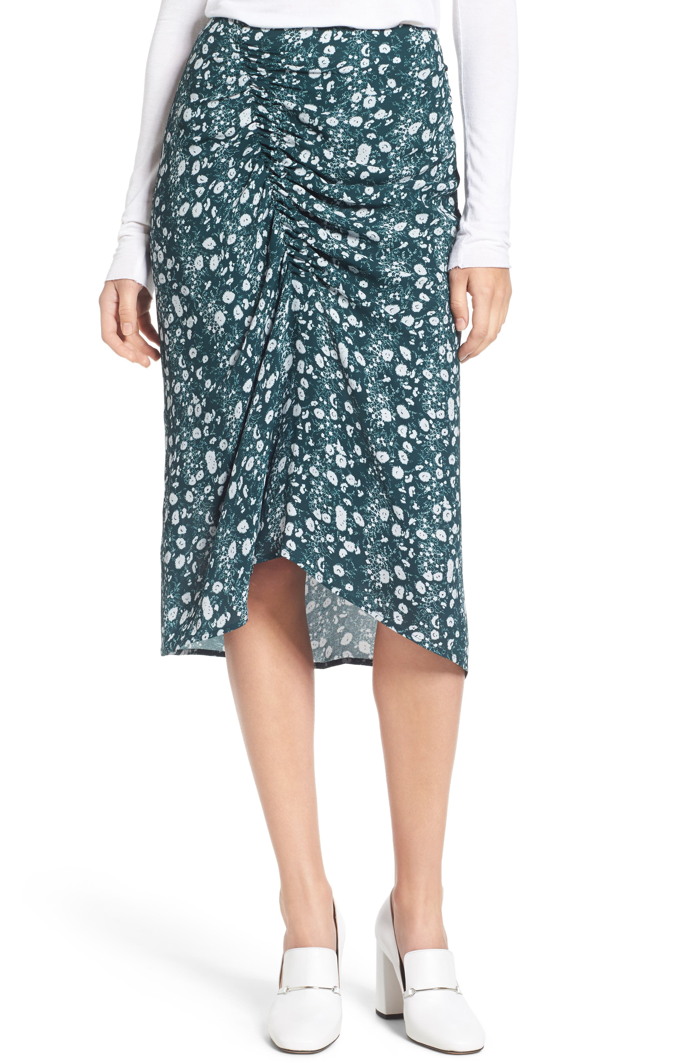 Print Skirt,                             Main thumbnail 1, color,                             Green Clara Floral Print
