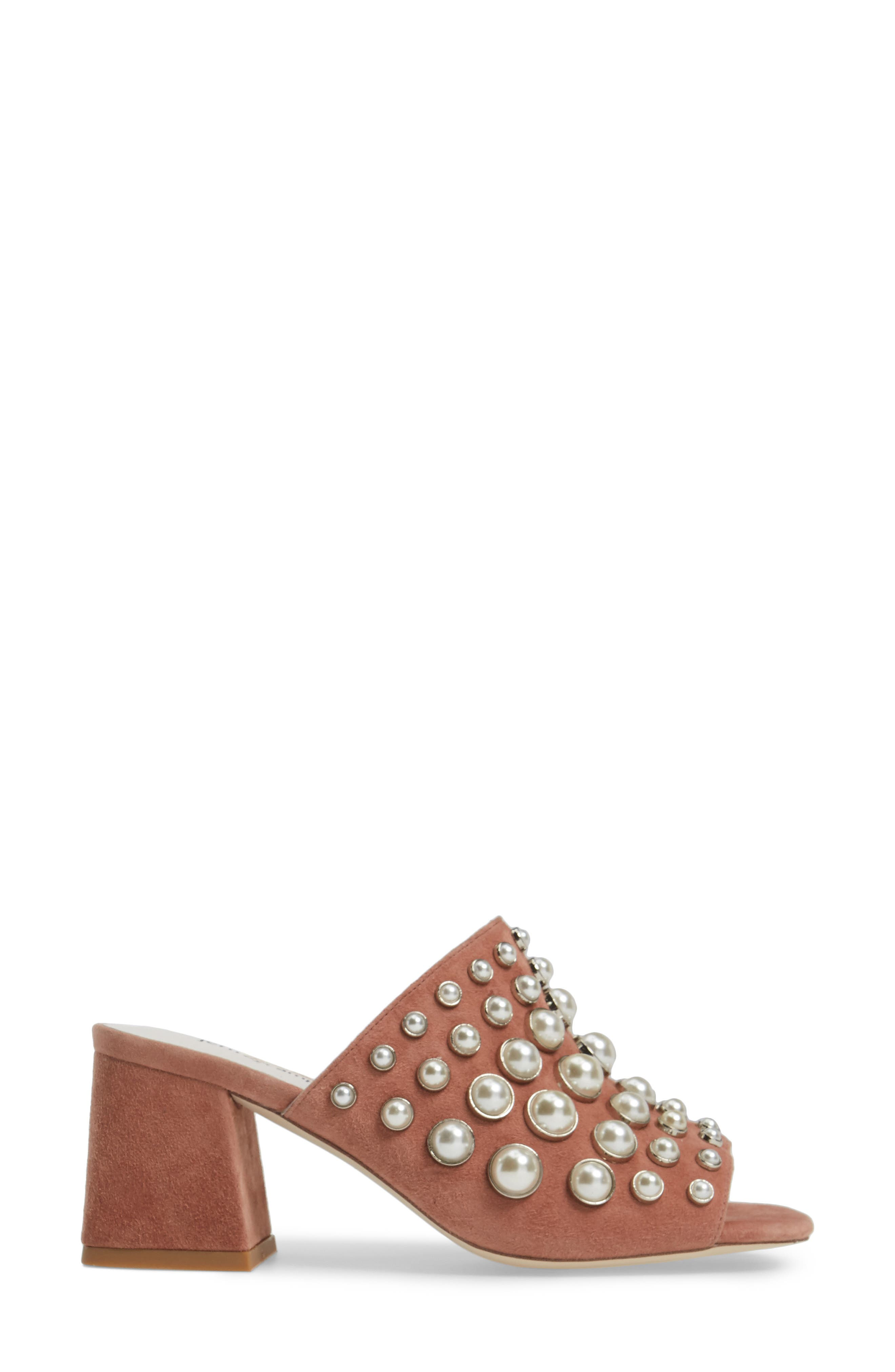 Perpetua Dome Stud Open-Toe Mule,                             Alternate thumbnail 3, color,                             Pink Suede Combo
