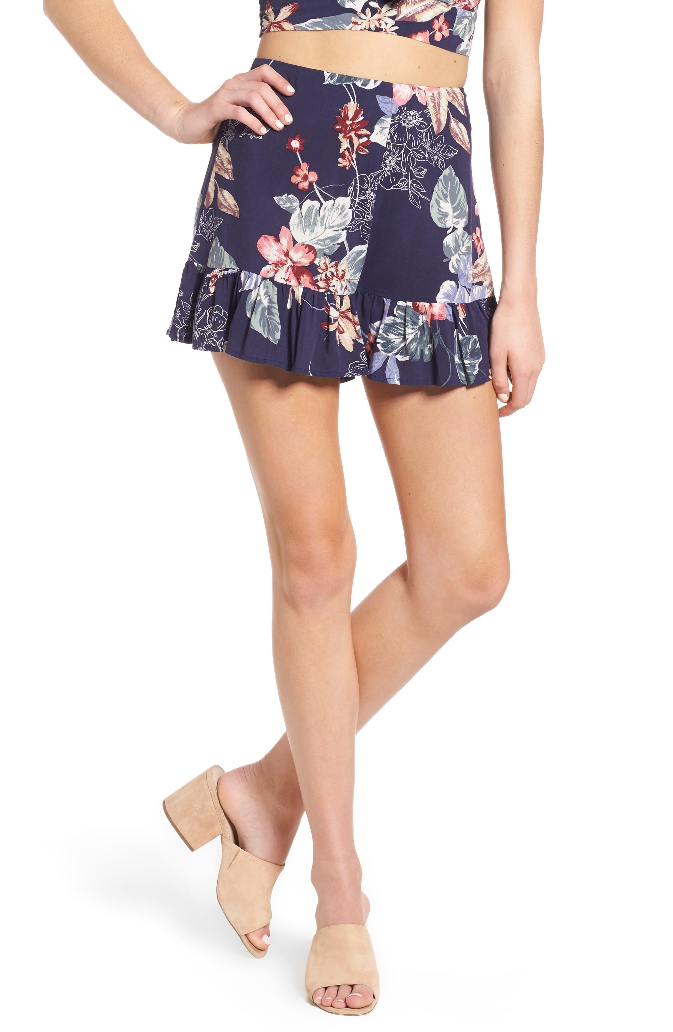 Ruffle Floral High Waist Shorts,                         Main,                         color, Navy Floral Print
