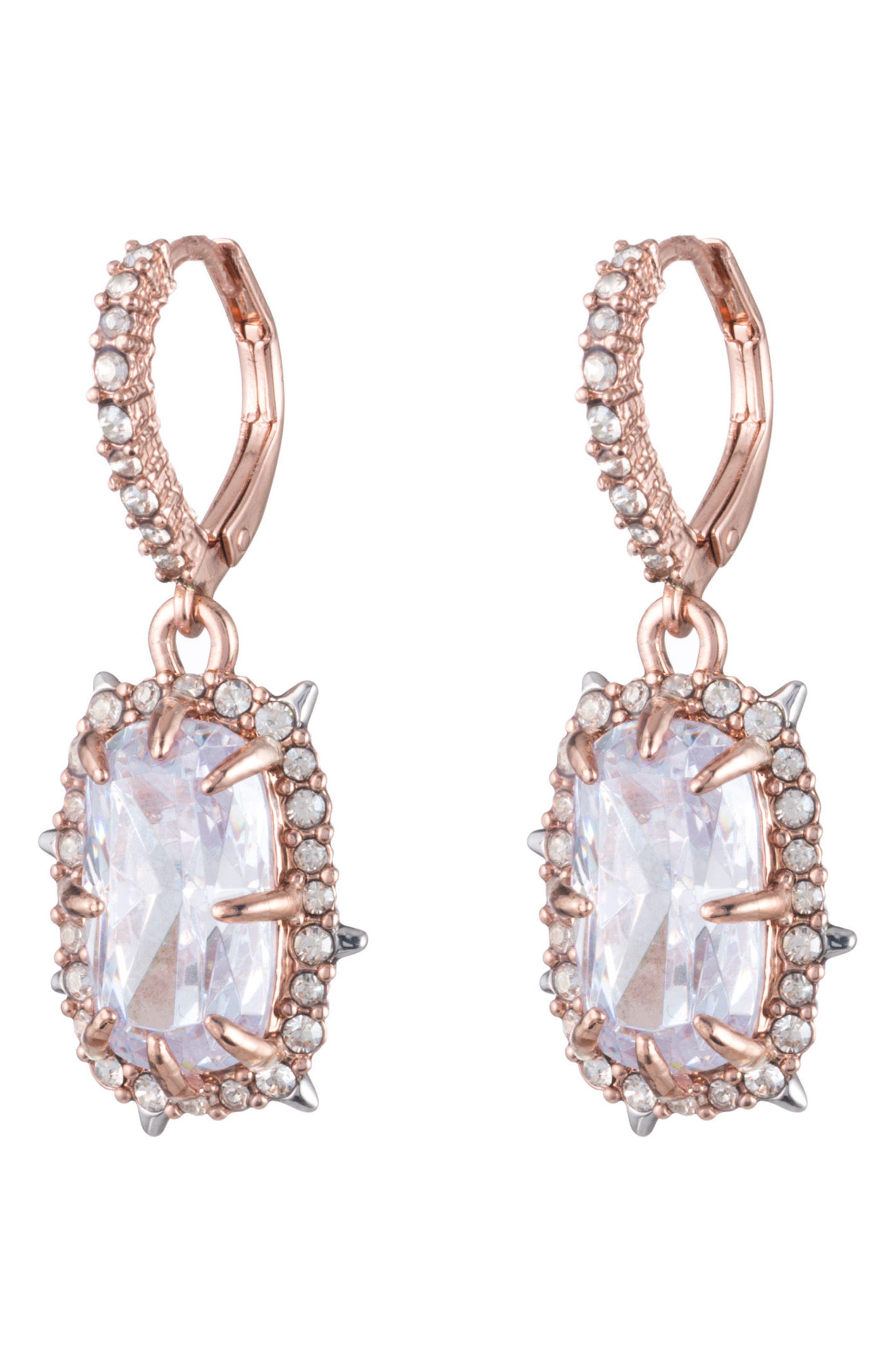 Crystal Drop Earrings,                             Main thumbnail 1, color,                             Rose Gold