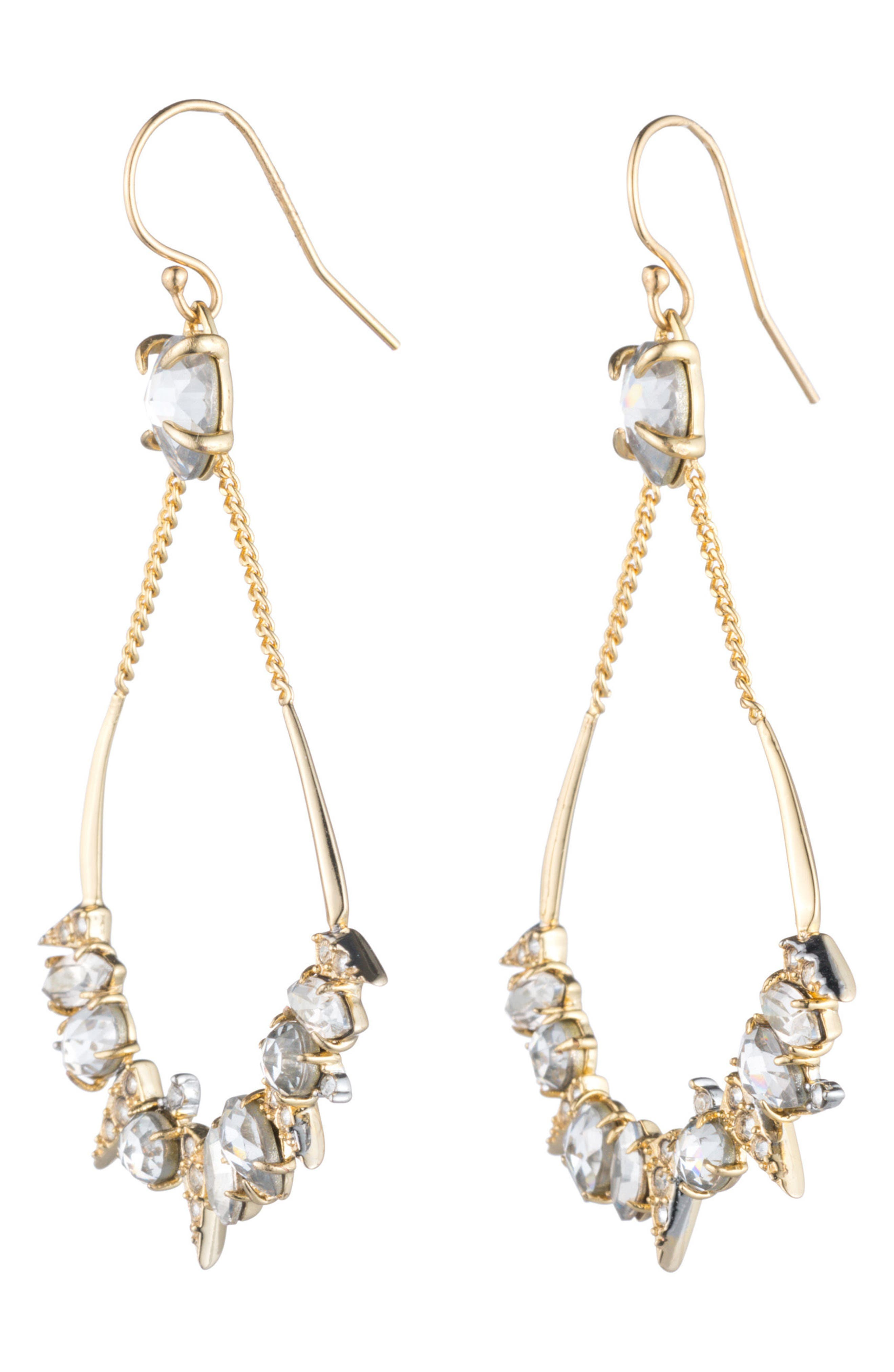 Crystal Encrusted Mosaic Drop Earrings,                             Main thumbnail 1, color,                             Gold