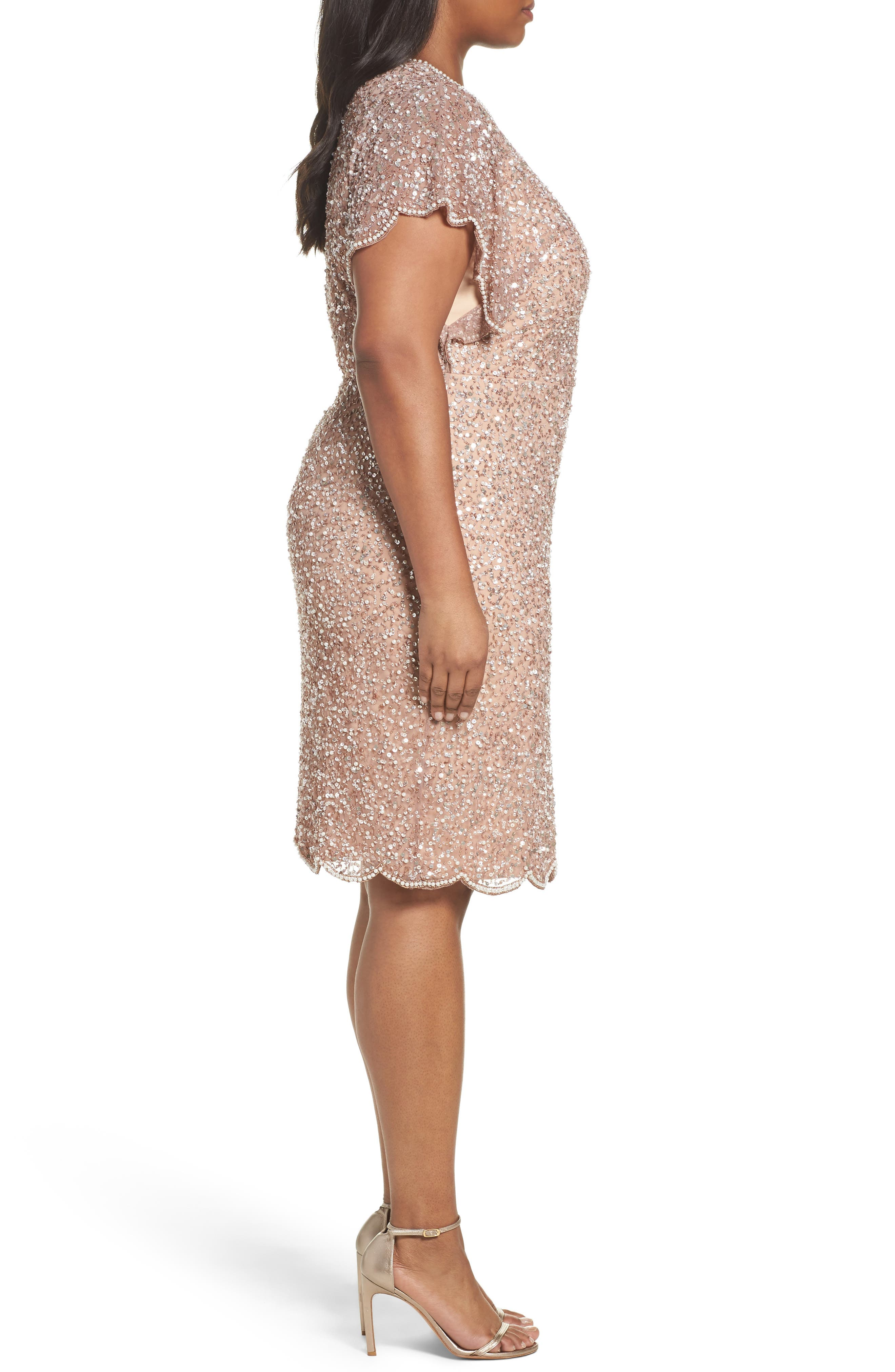 Alternate Image 3  - Adrianna Papell Beaded Flutter Sleeve Sheath Dress (Plus Size)
