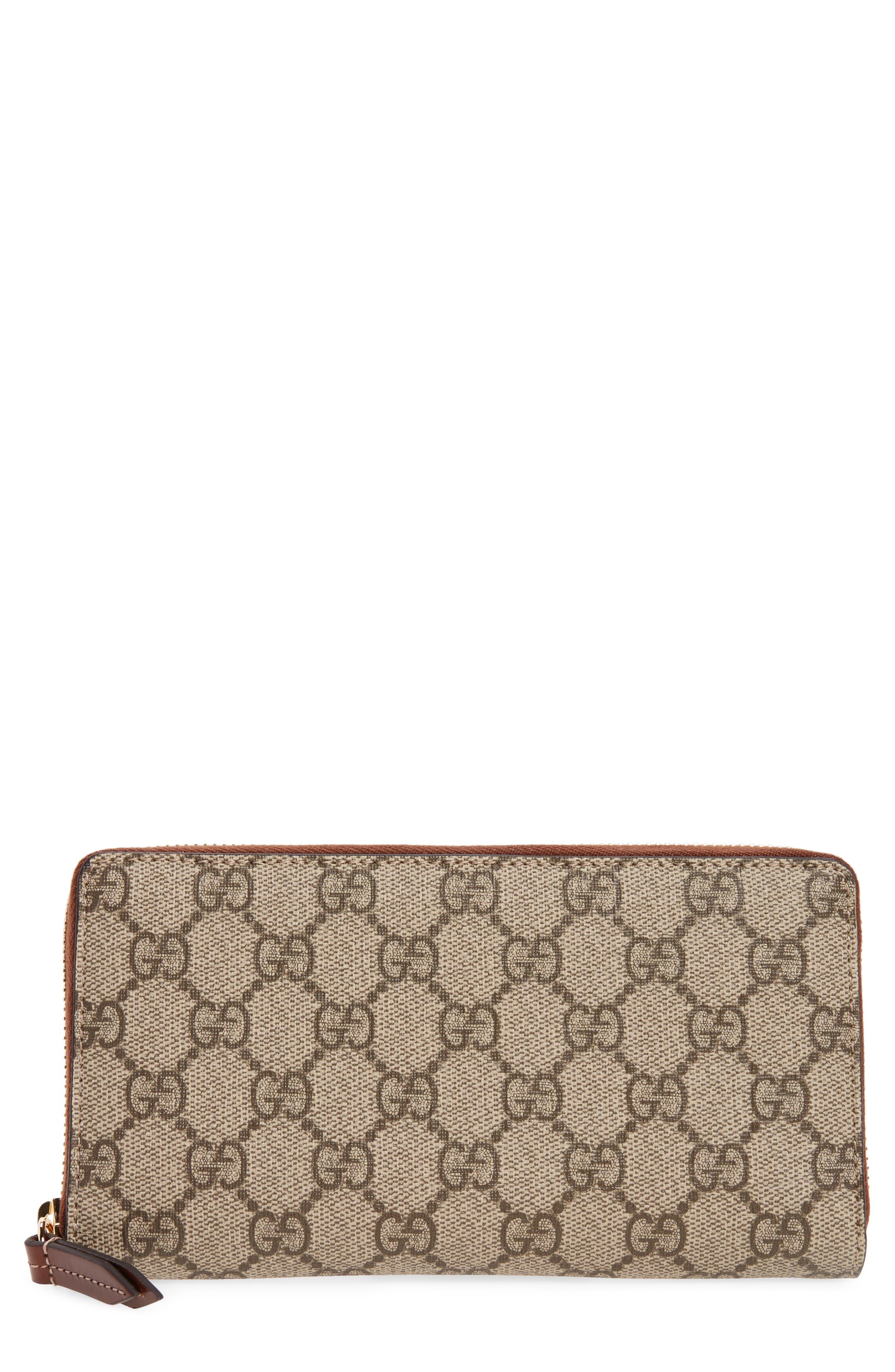 GG Supreme Zip Around Canvas Wallet,                         Main,                         color, Beige/Ebony/Cuir