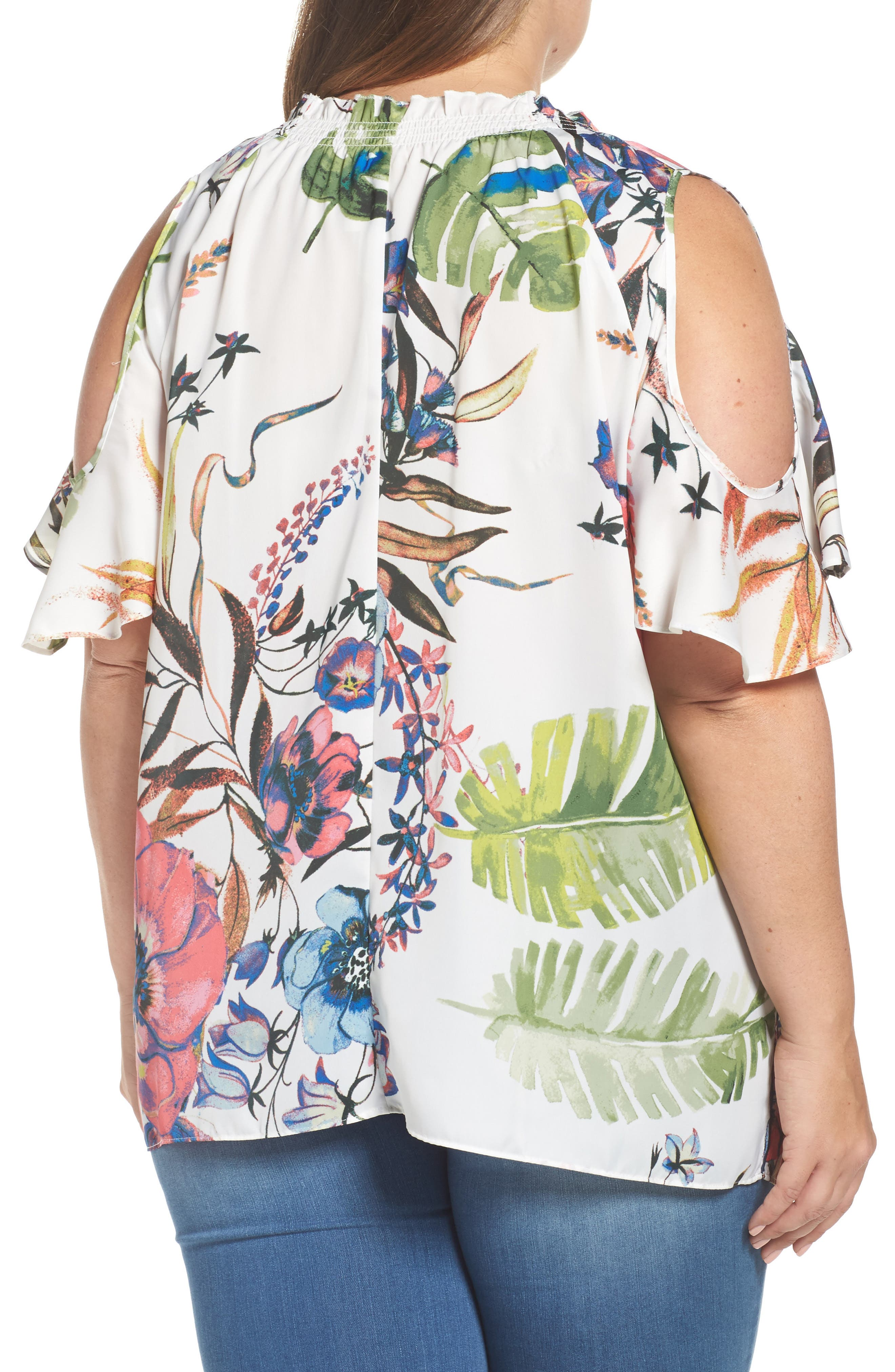 Alternate Image 2  - RACHEL Rachel Roy Vanessa Print Cold Shoulder Top (Plus Size)