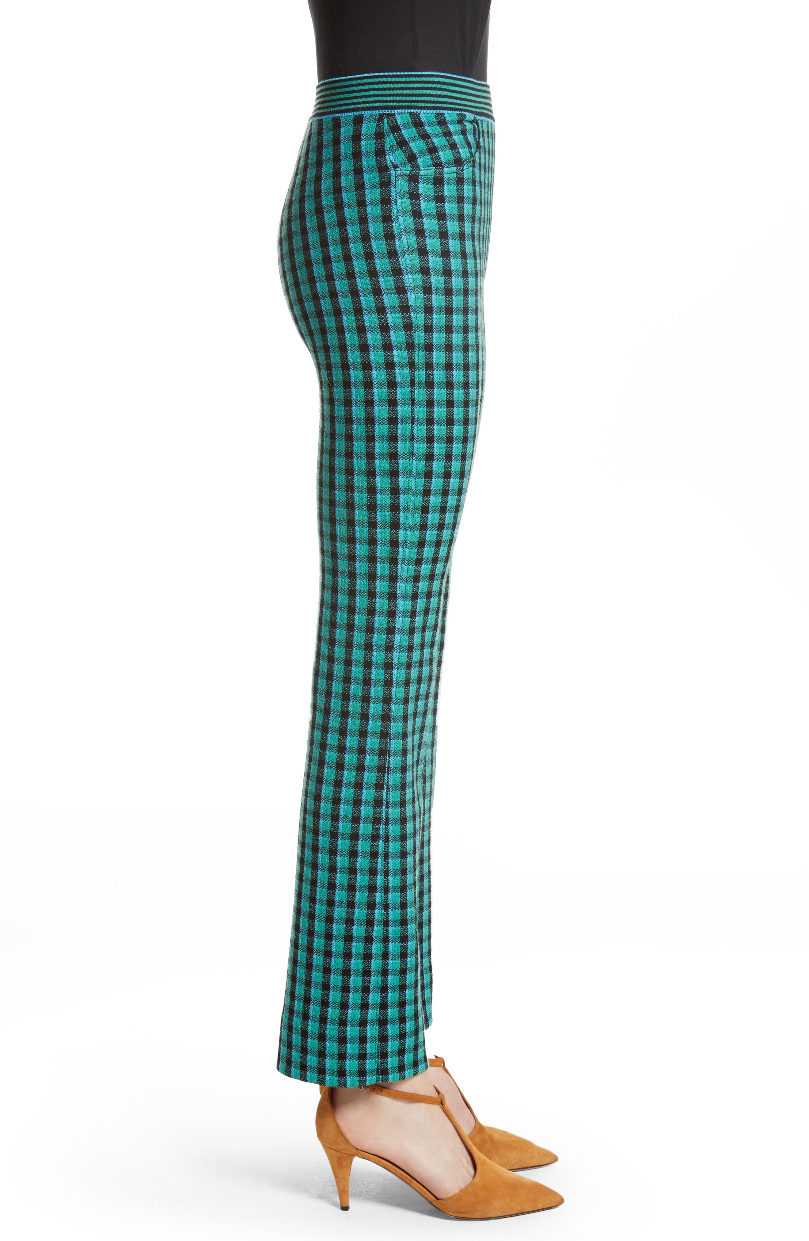 Plaid Stretch Wool Knit Pants,                             Alternate thumbnail 5, color,                             Green/ Blue