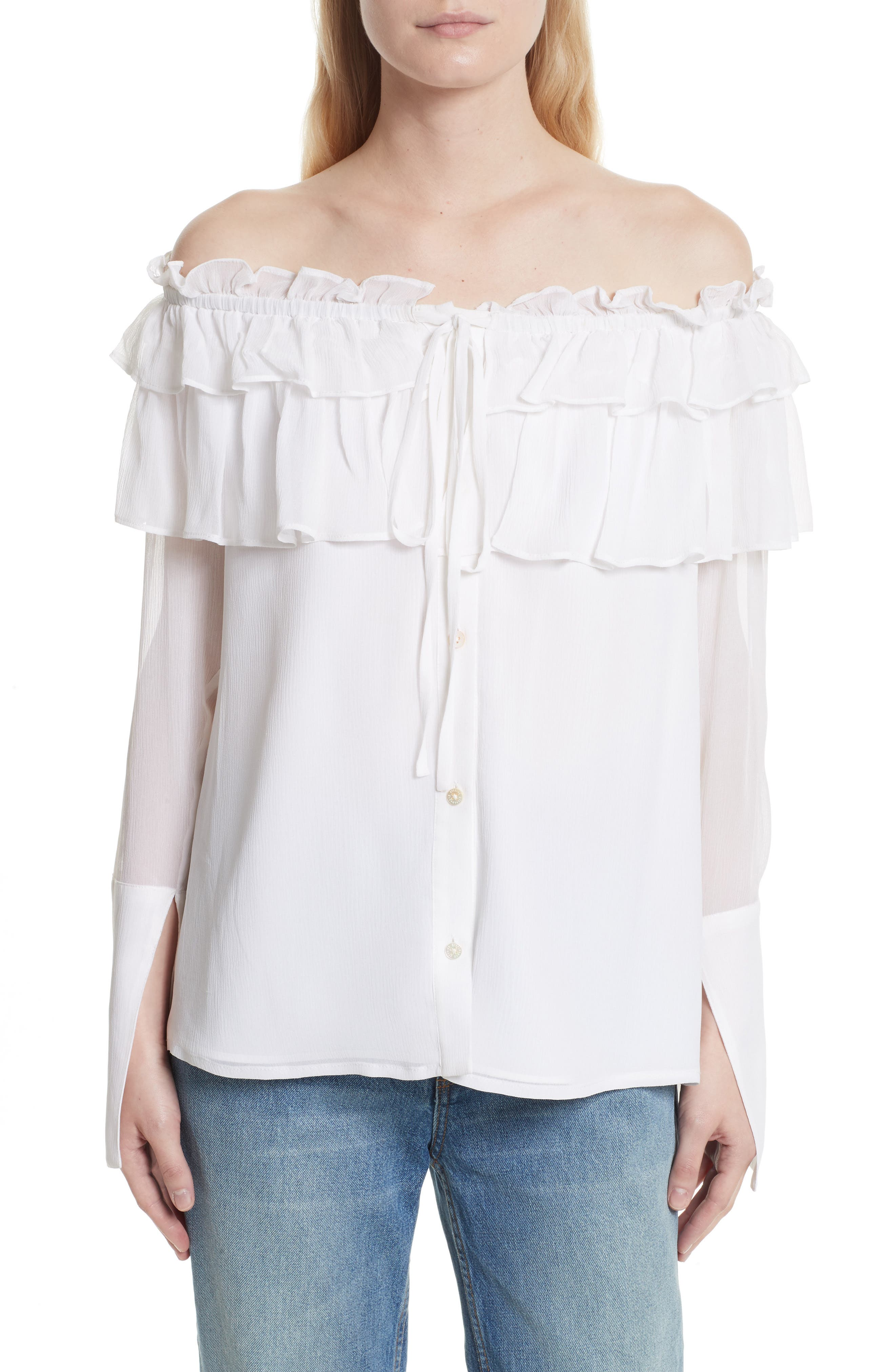 Main Image - Opening Ceremony Off the Shoulder Silk Chiffon Top