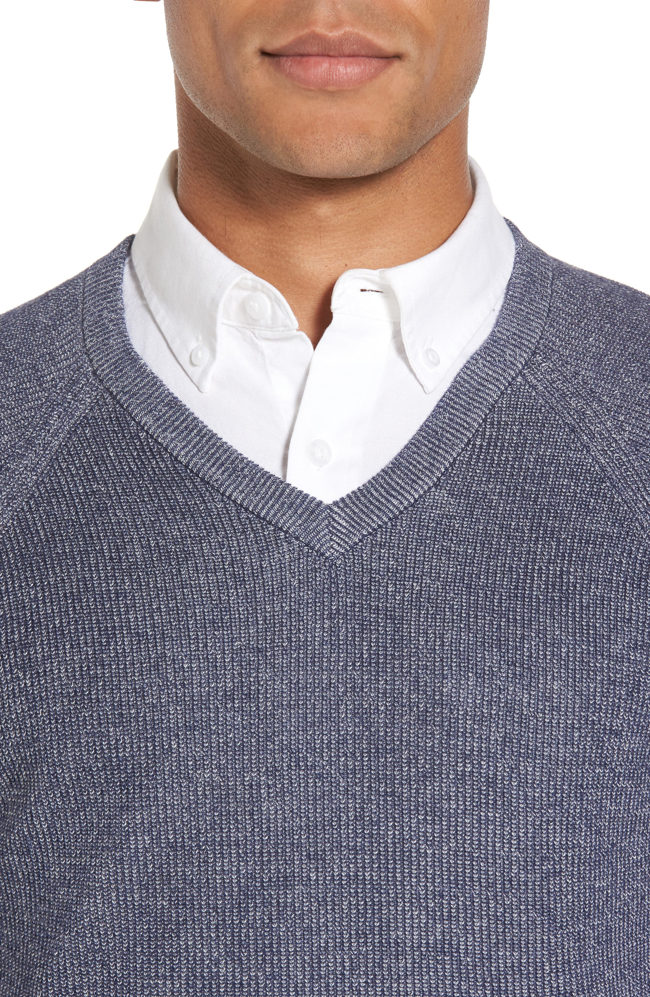 Supima<sup>®</sup> Cotton V-Neck Sweater,                             Alternate thumbnail 4, color,                             Navy Armada Marl