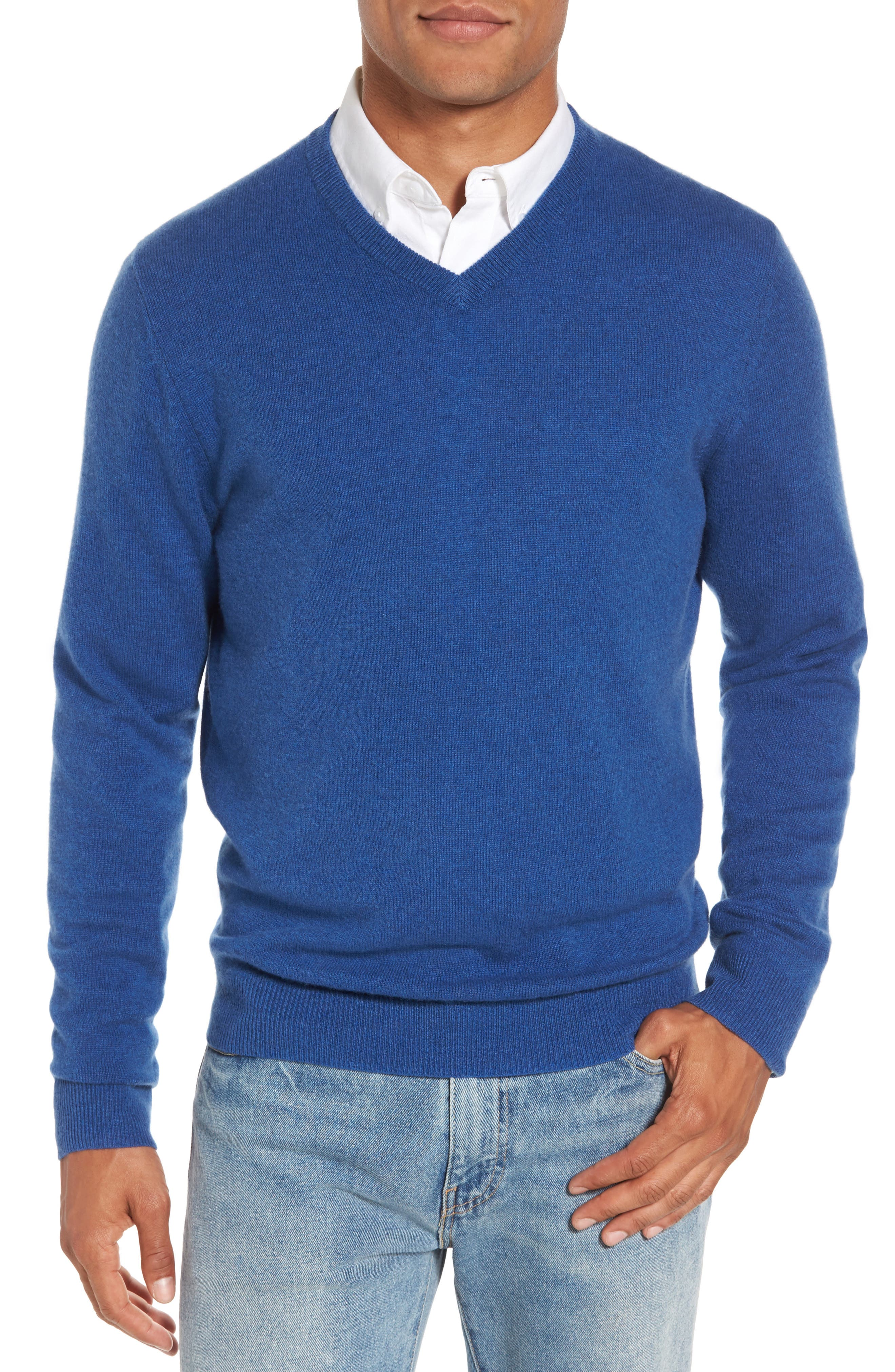 Cashmere V-Neck Sweater,                             Main thumbnail 1, color,                             Blue Canal