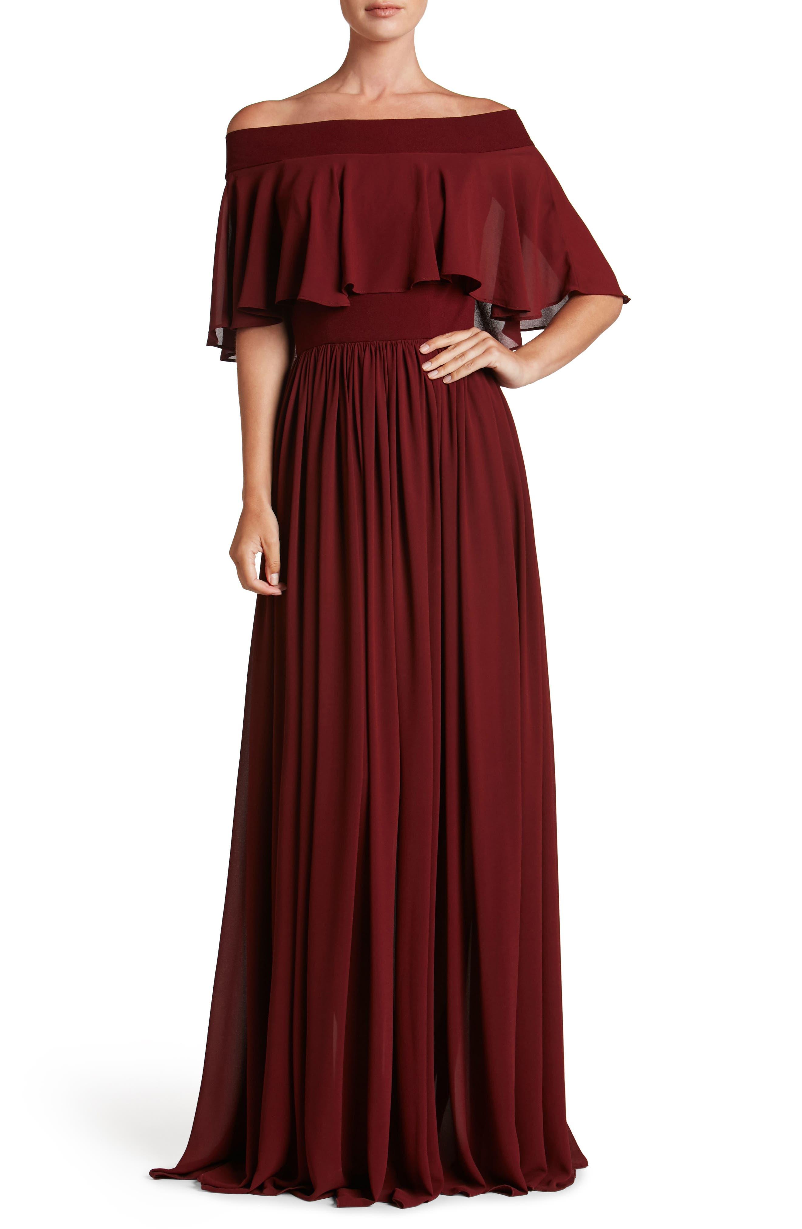 Violet Off the Shoulder Chiffon Gown,                         Main,                         color, Burgundy