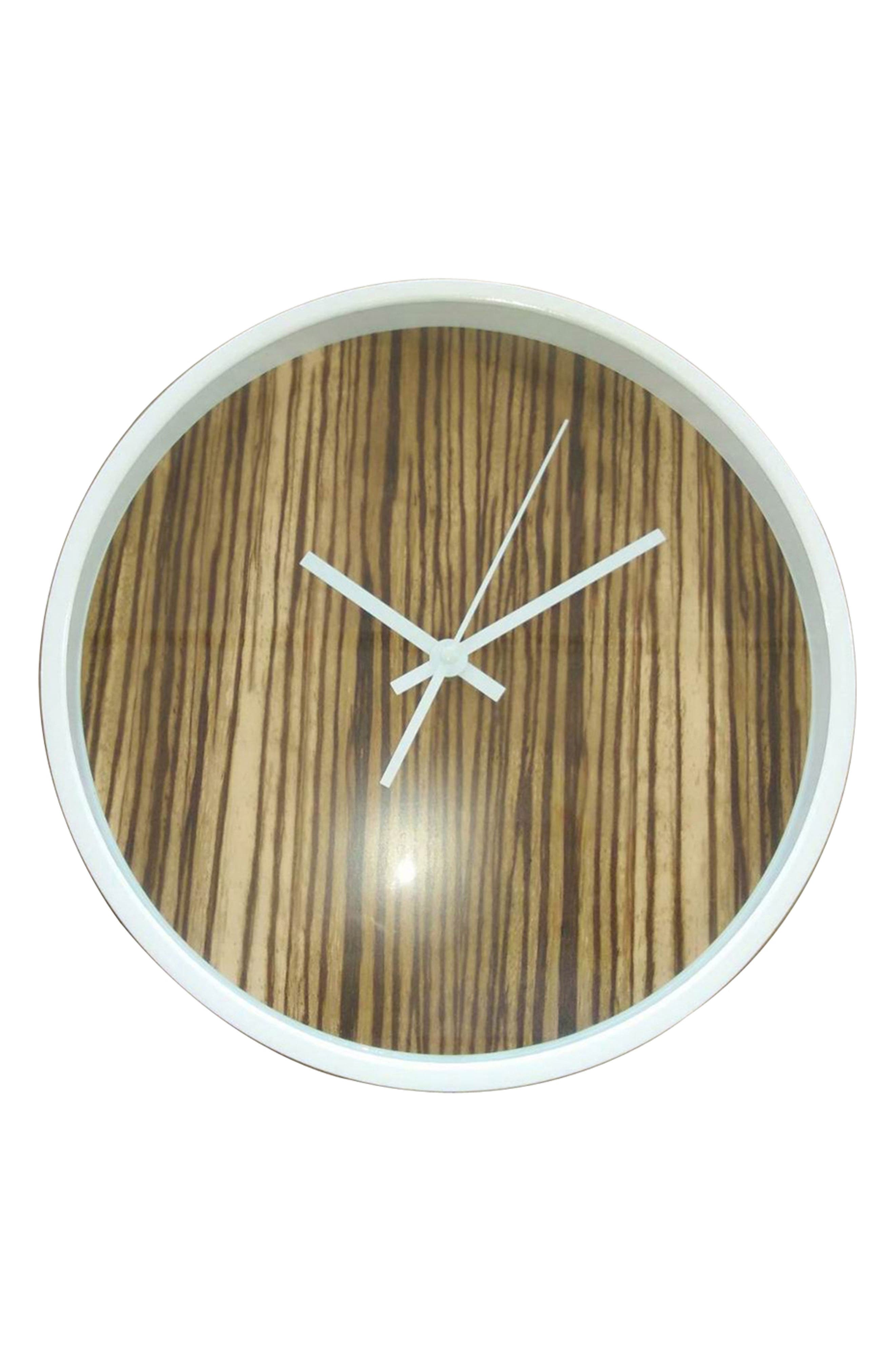 Wood Print Wall Clock,                         Main,                         color, Brown