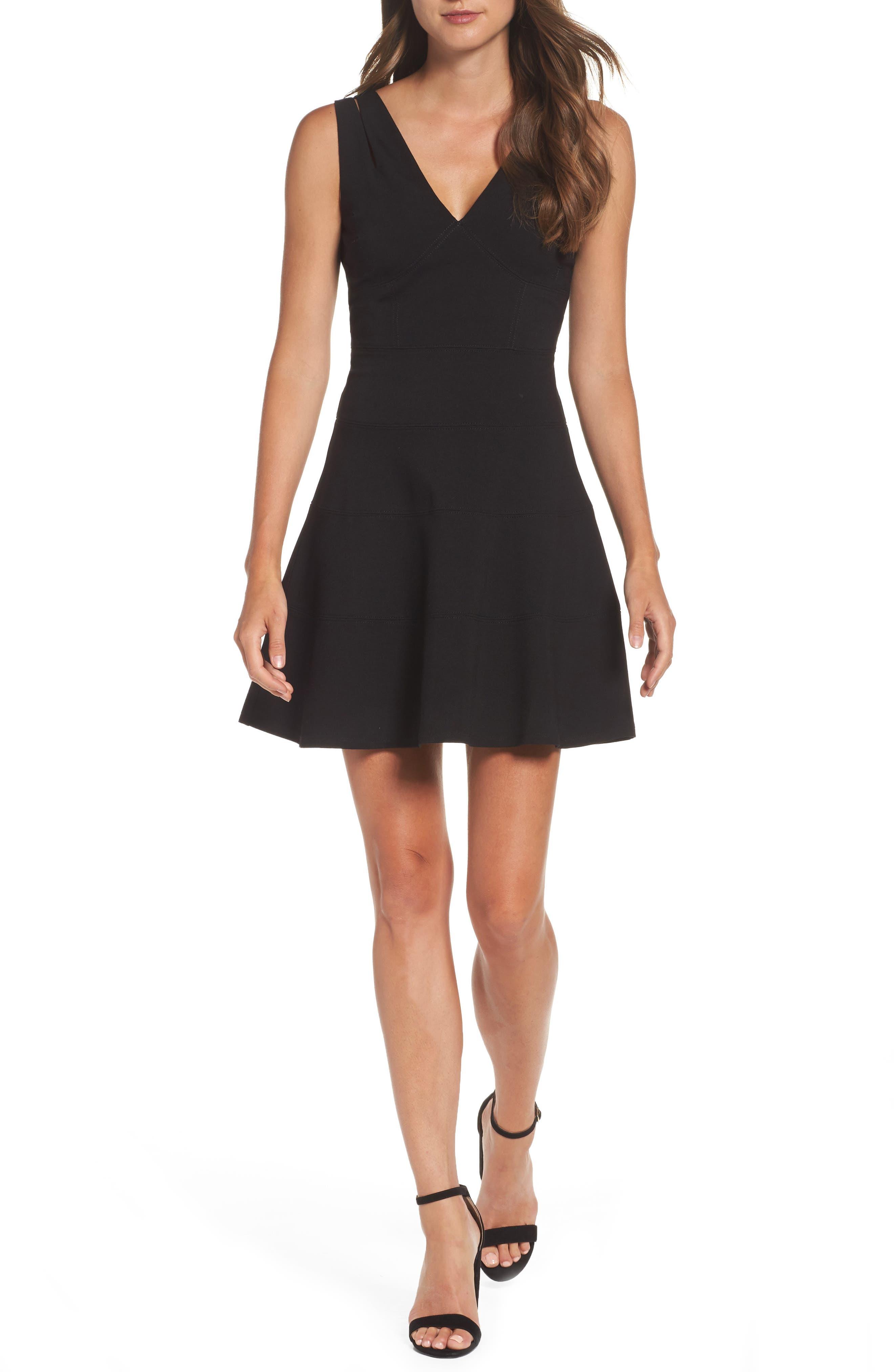 Fit & Flare Dress,                         Main,                         color, Black