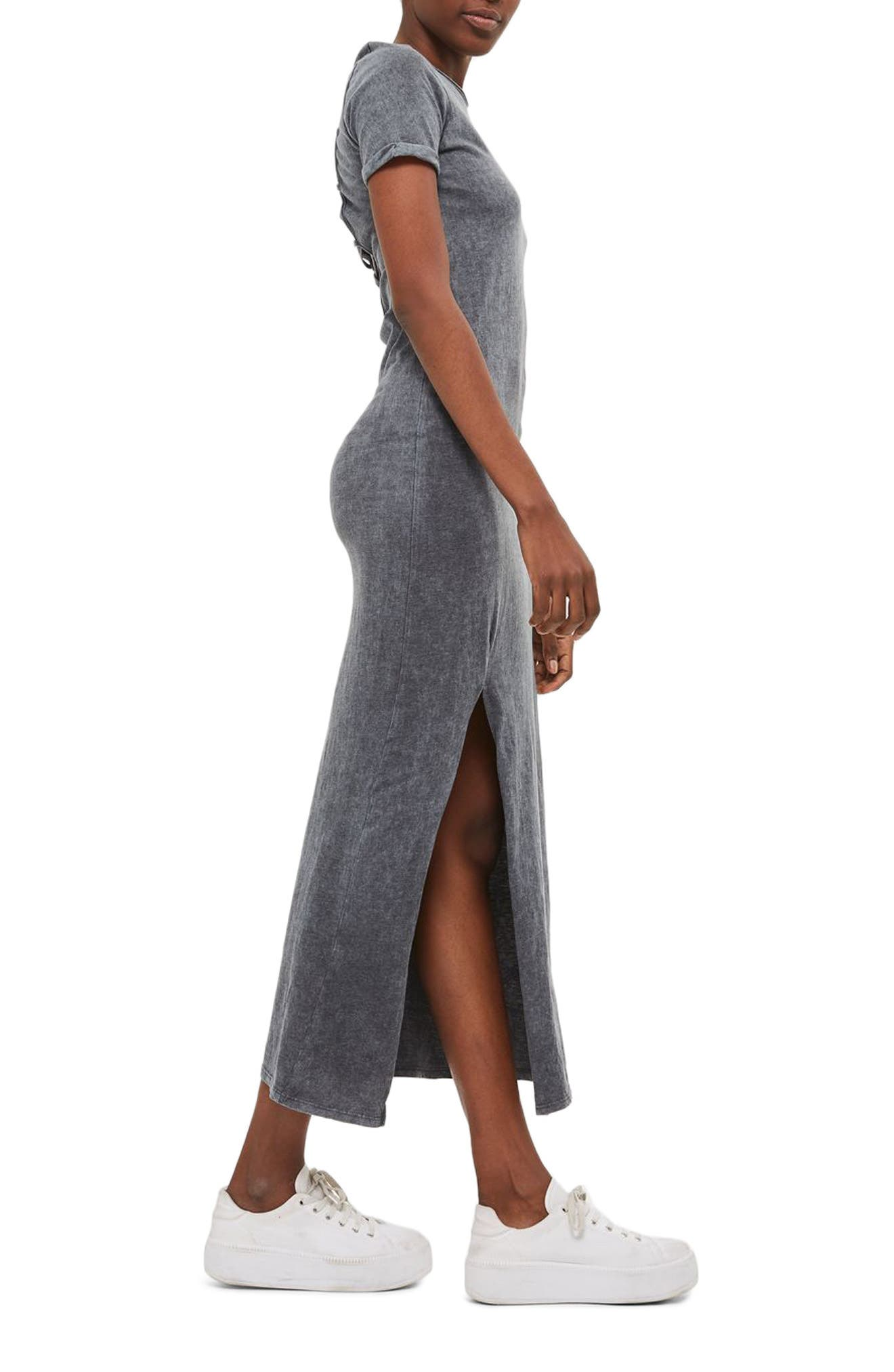 Lattice Back Jersey Maxi Dress,                             Alternate thumbnail 3, color,                             Grey