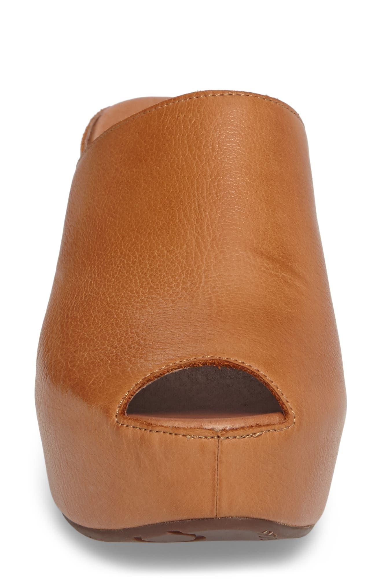 Willa Platform Wedge Mule,                             Alternate thumbnail 4, color,                             Camel Leather