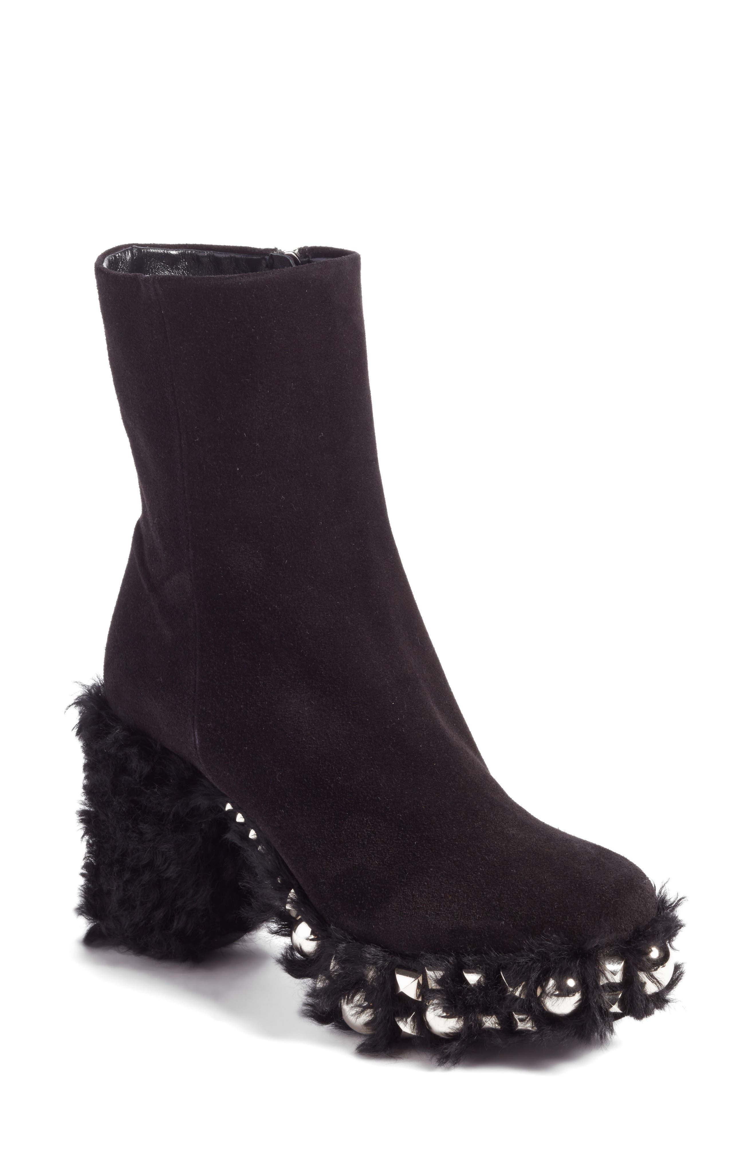MIU MIU Studded Wool Trim Platform Bootie