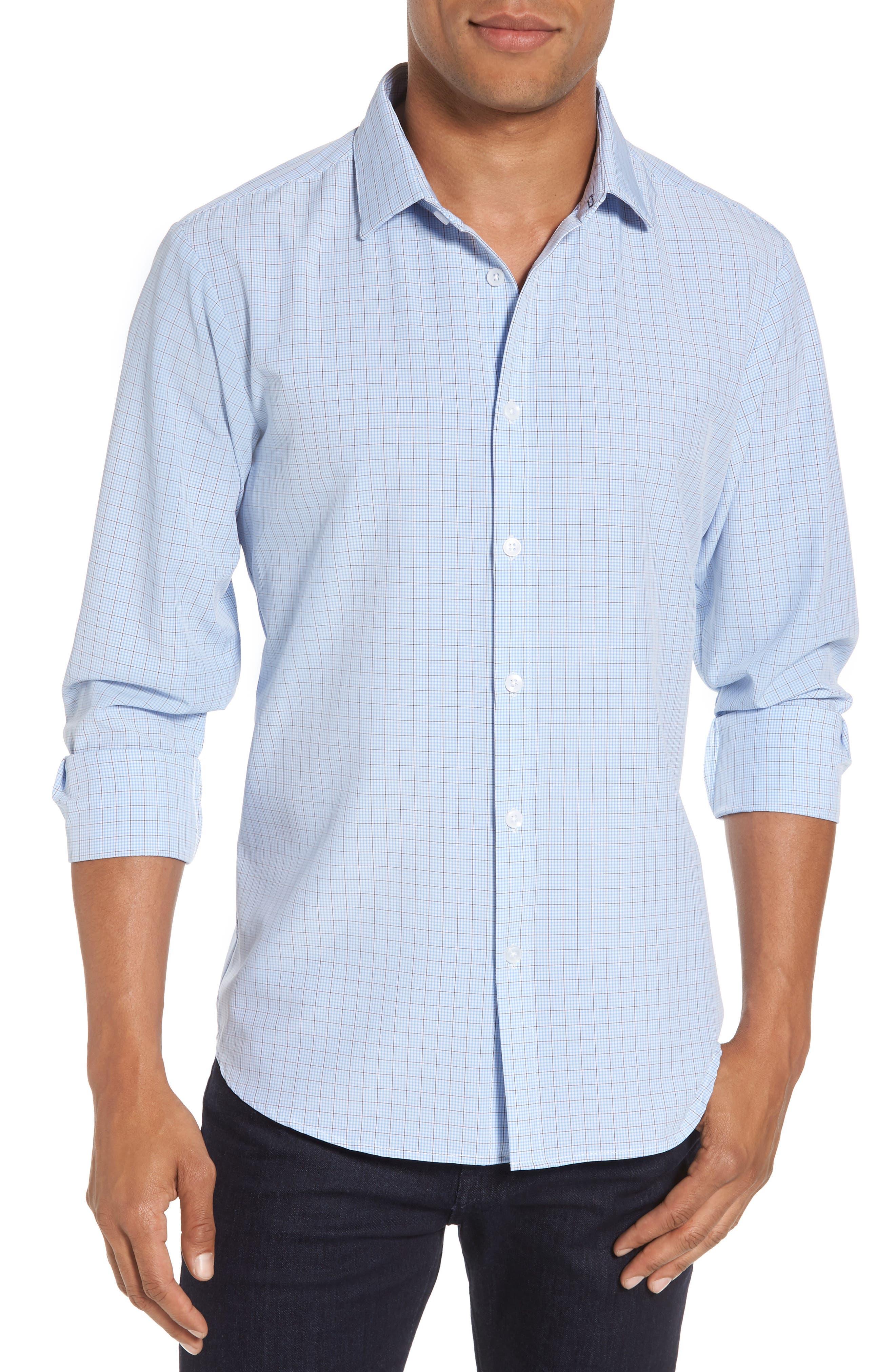 Davis Check Sport Shirt,                             Main thumbnail 1, color,                             Blue