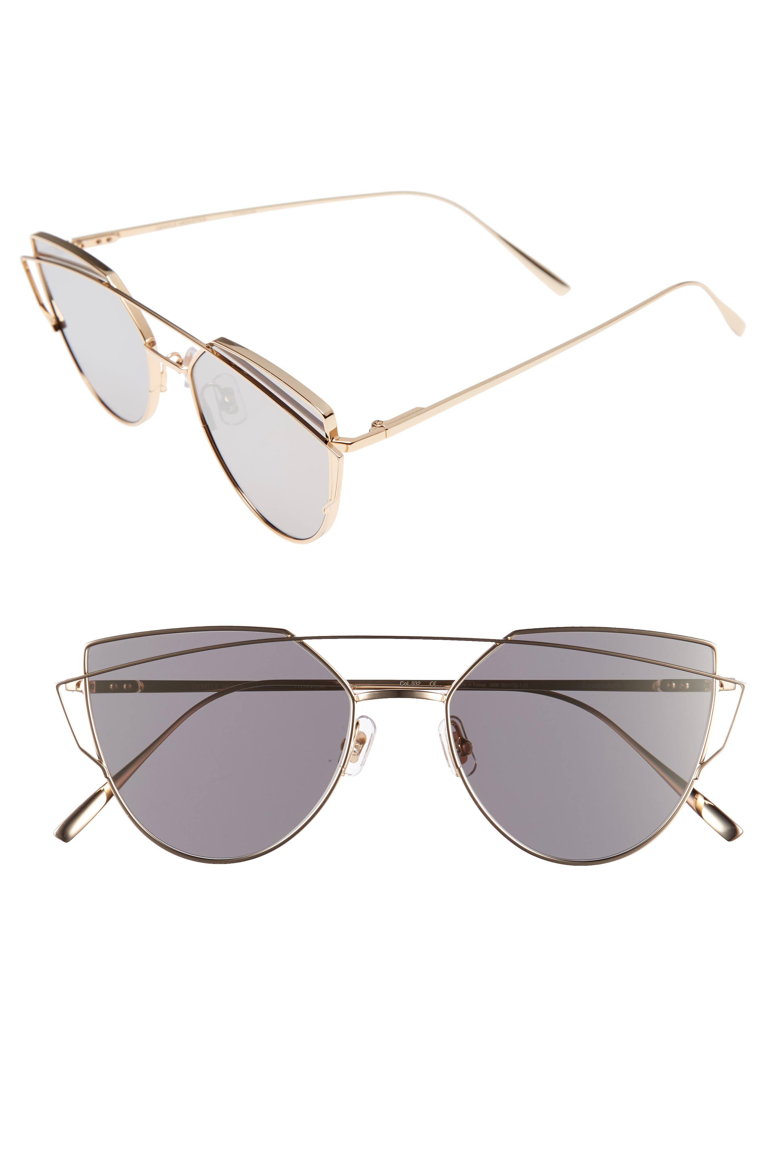 Gentle Monster Love Punch 55mm Titanium Aviator Sunglasses