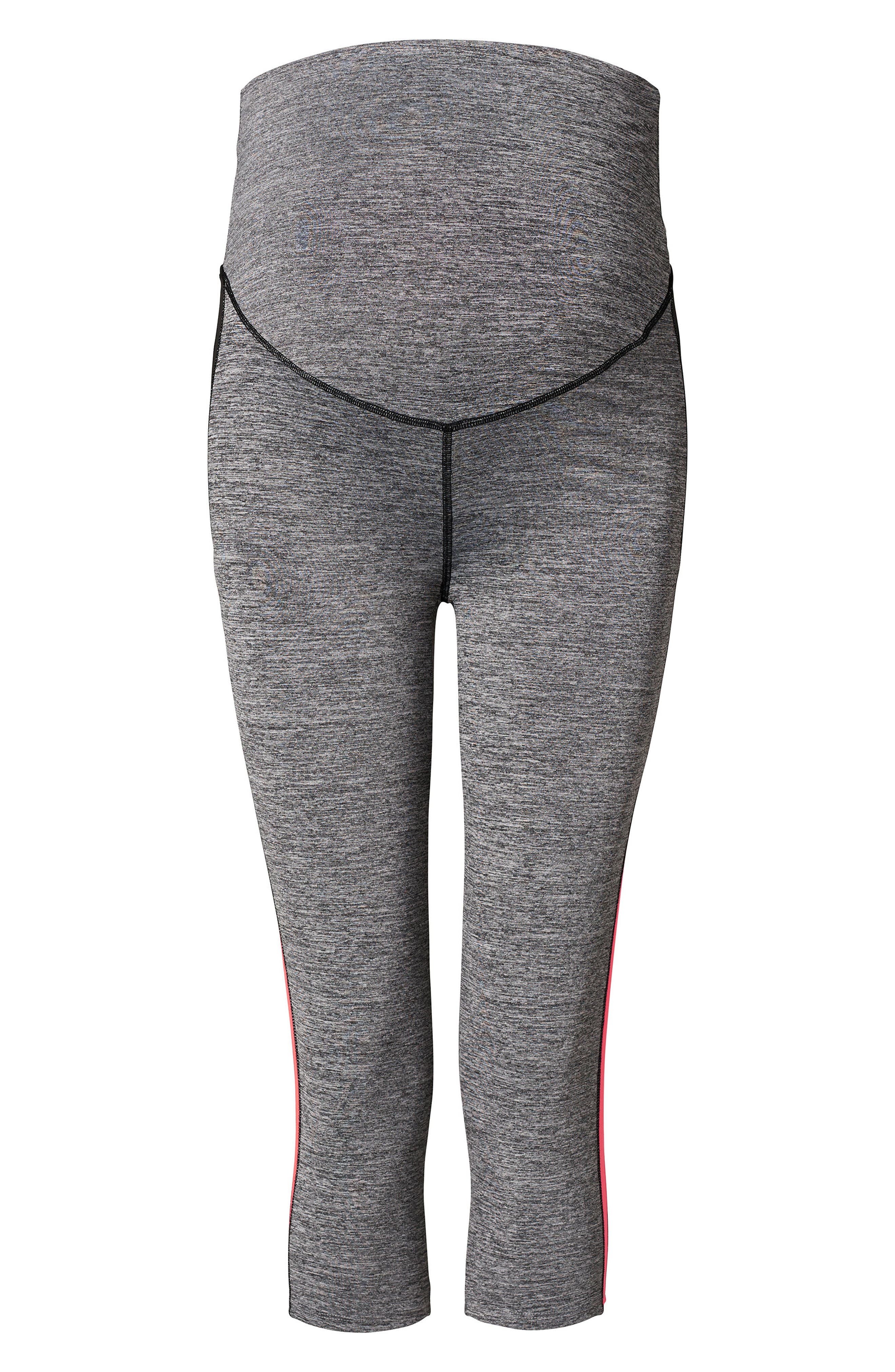 Alternate Image 1 Selected - Noppies Over the Belly Stripe Crop Maternity Leggings