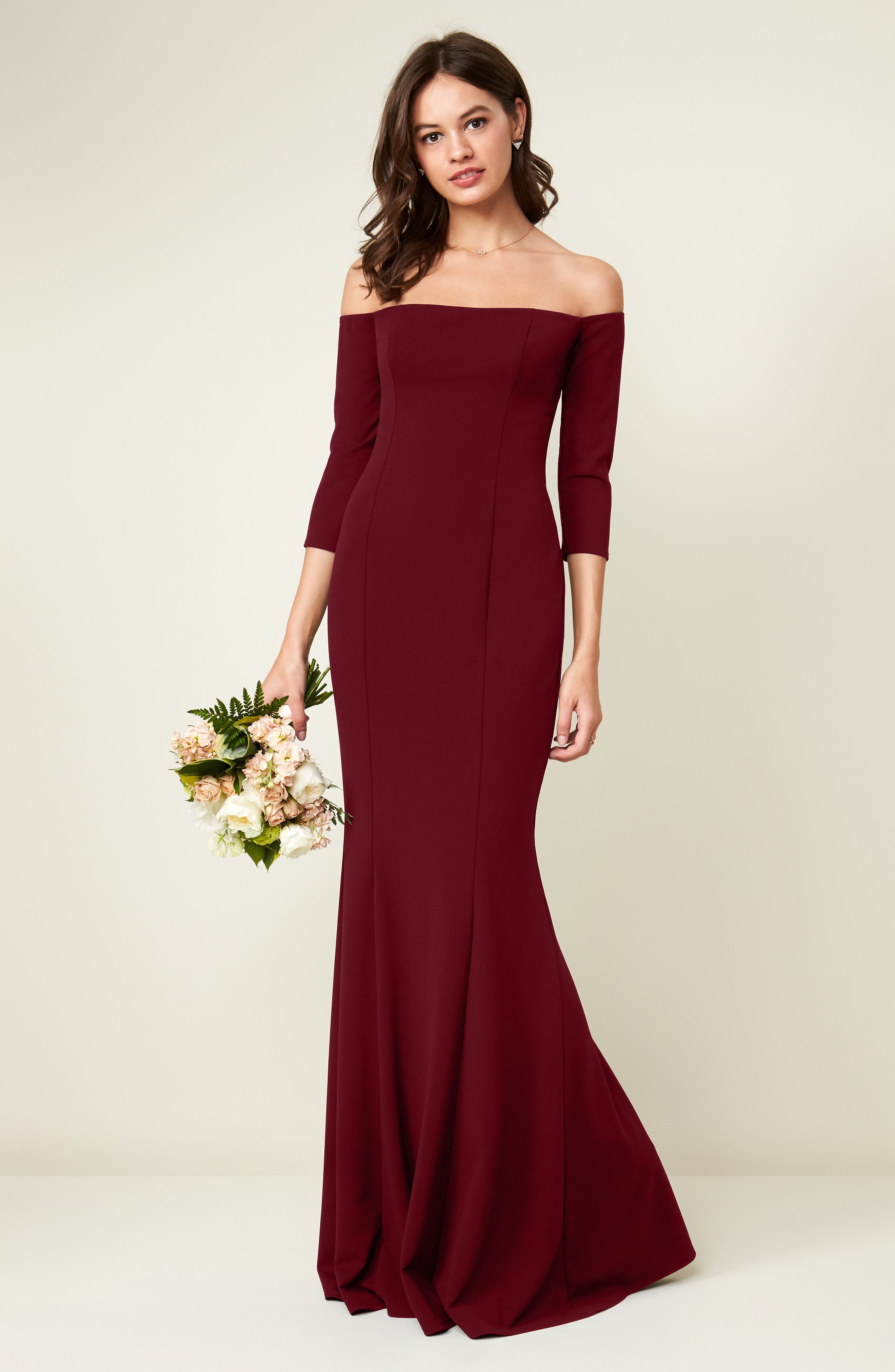 Brentwood Three-Quarter Sleeve Off the Shoulder Gown,                             Alternate thumbnail 2, color,                             Bordeaux