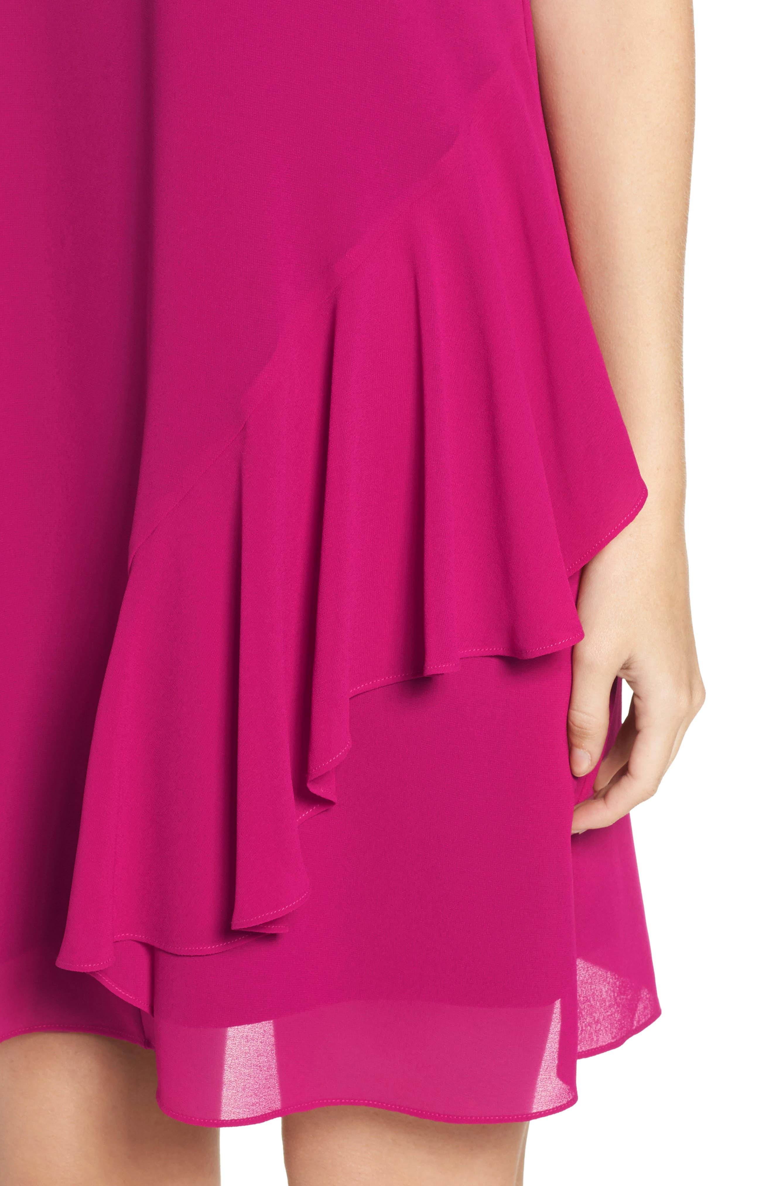 Roll Neck Chiffon Dress,                             Alternate thumbnail 5, color,                             Magenta
