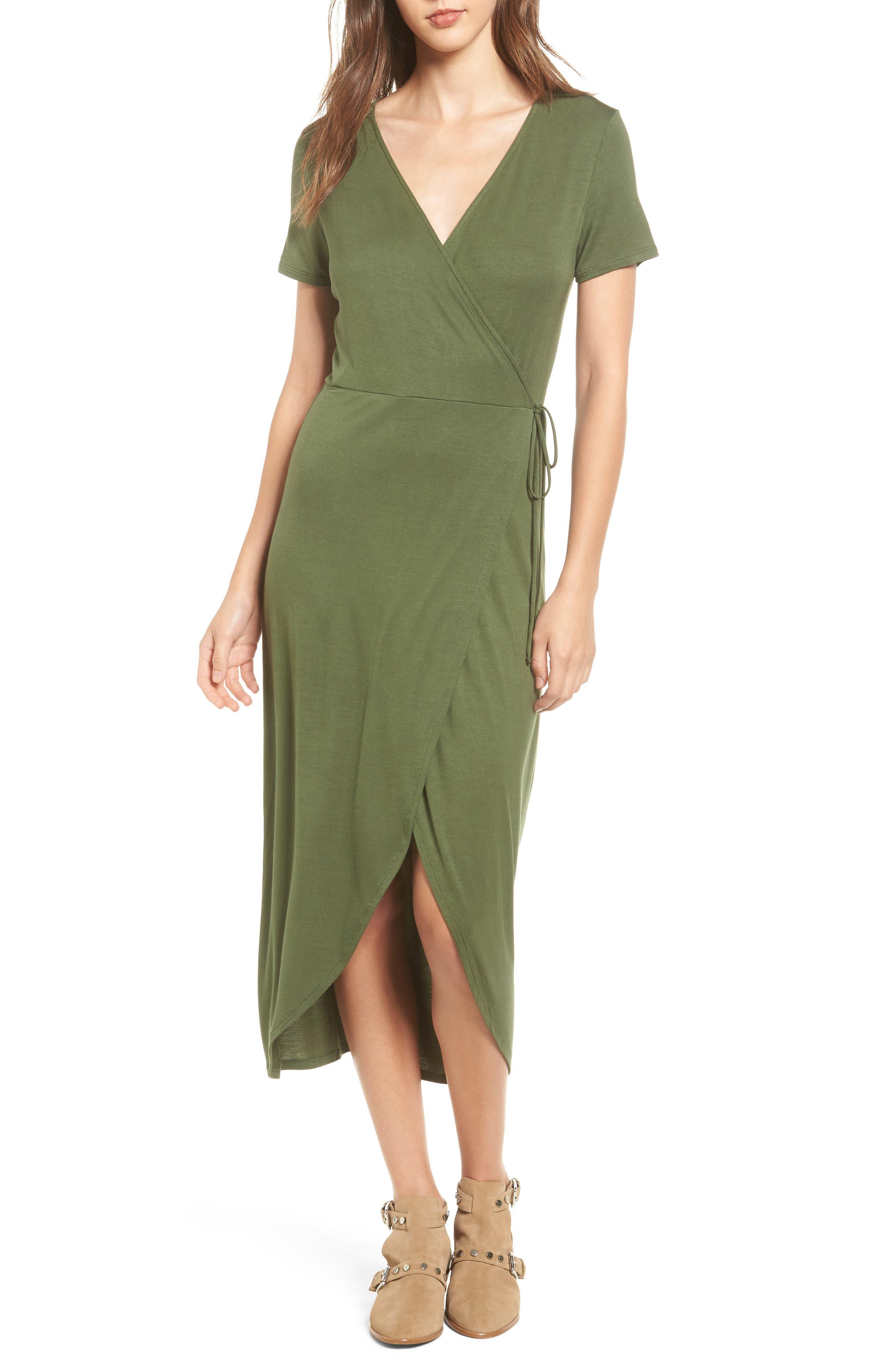 Alternate Image 1 Selected - One Clothing Knit Wrap Midi Dress