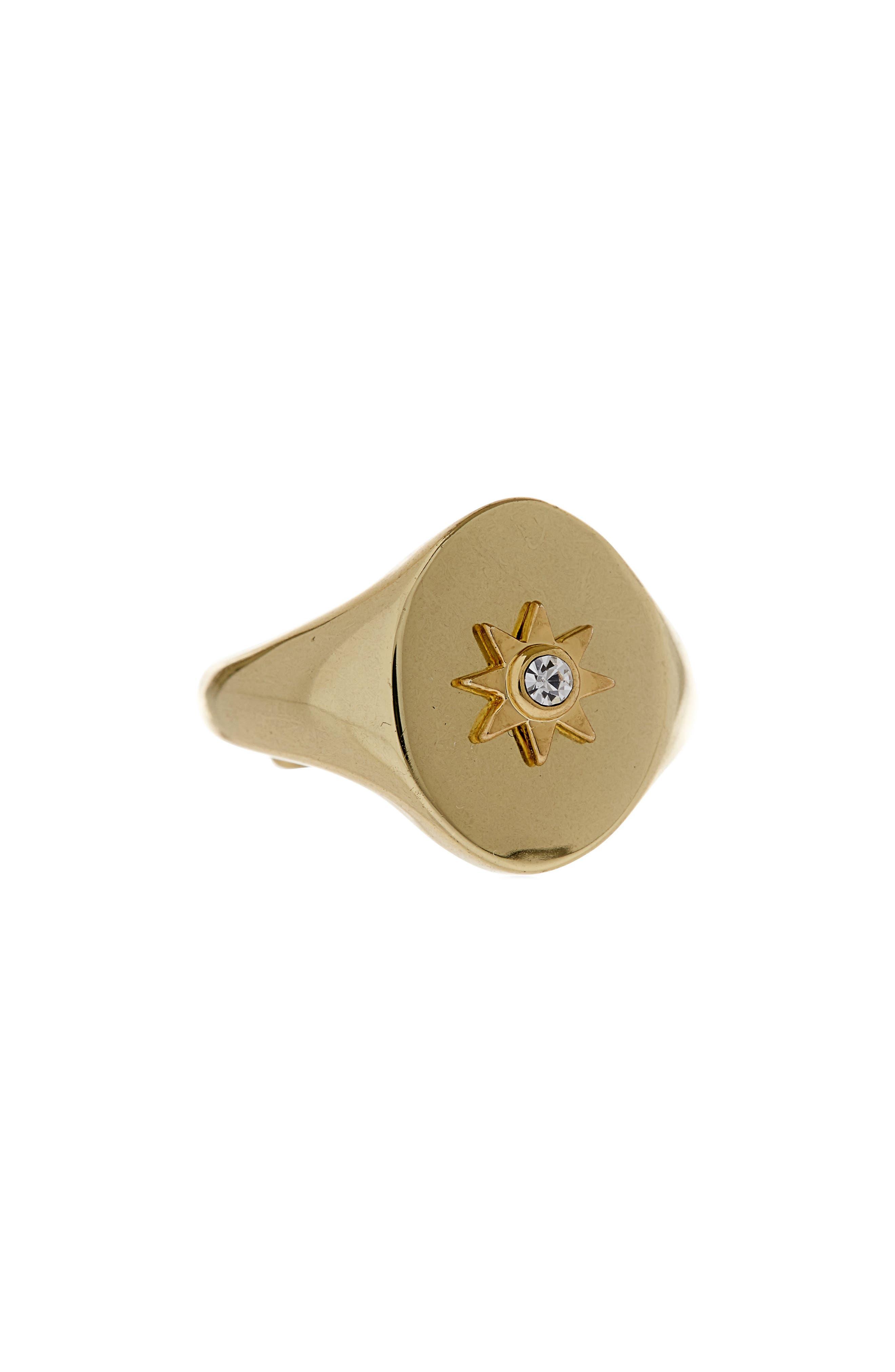 Revel Starburst Signet Ring,                         Main,                         color, Gold