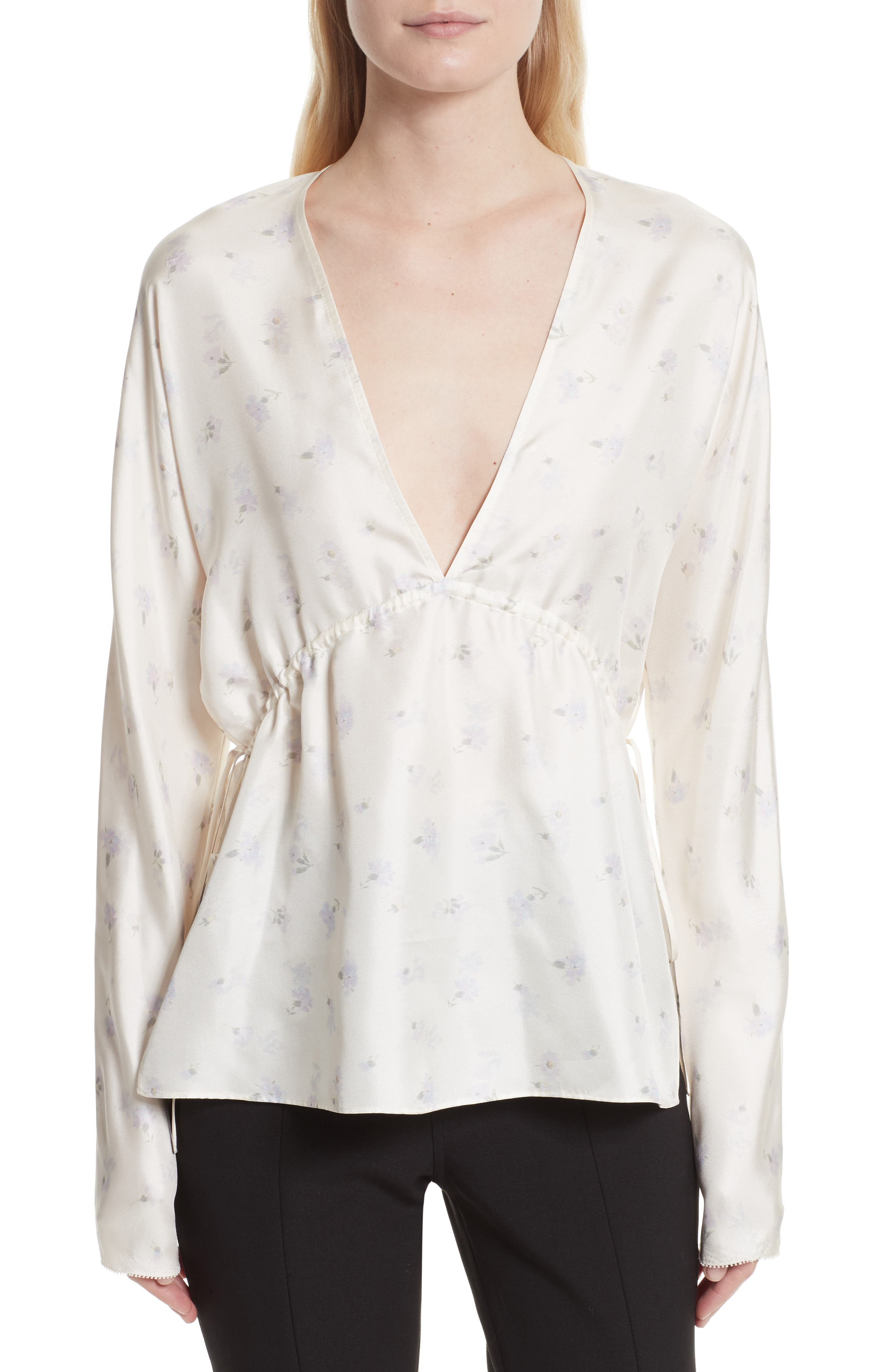 Ophelie Print Silk Blouse,                         Main,                         color, Alabaster