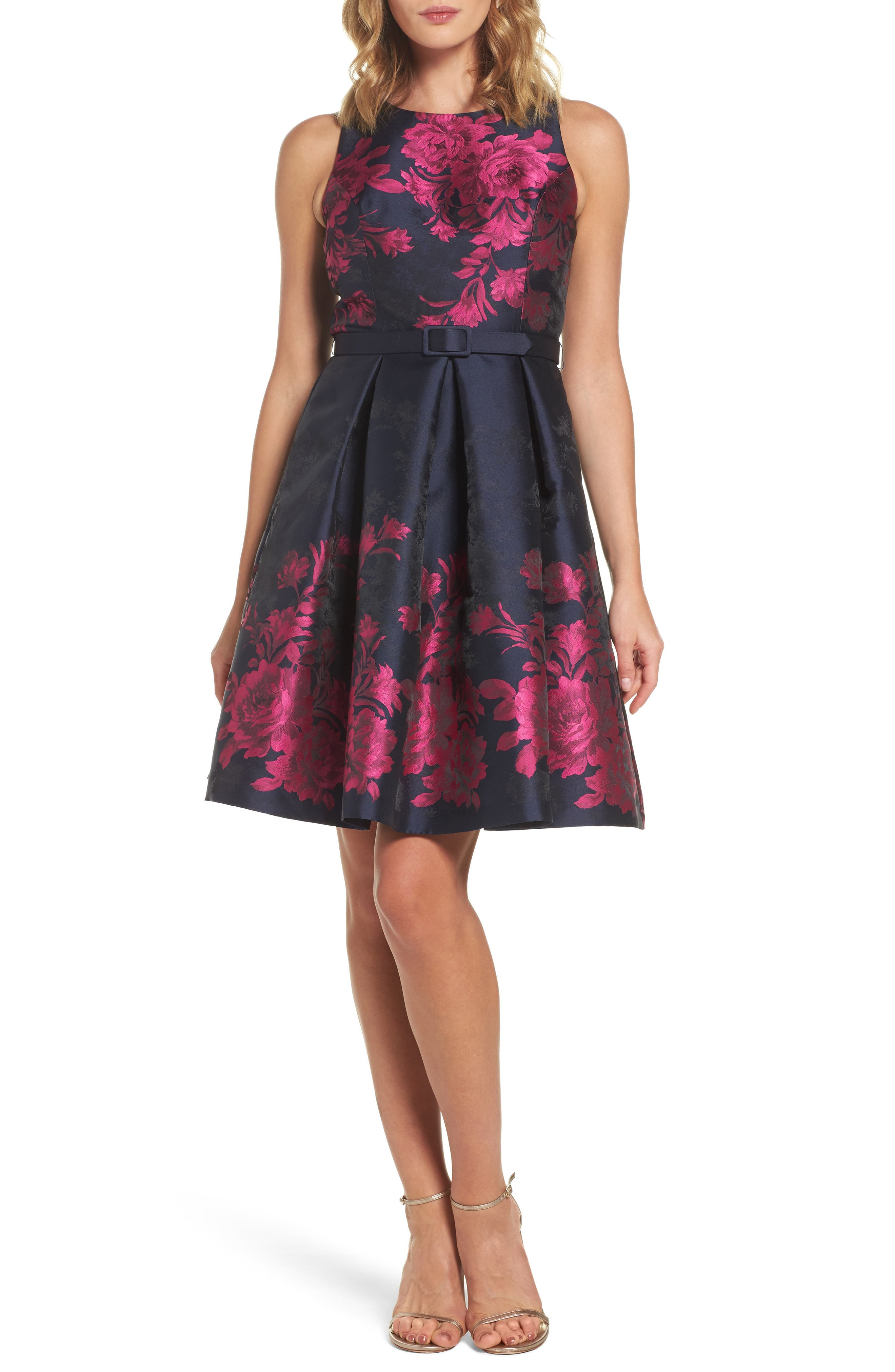 Floral Jacquard Fit & Flare Dress,                         Main,                         color, Navy/ Pink