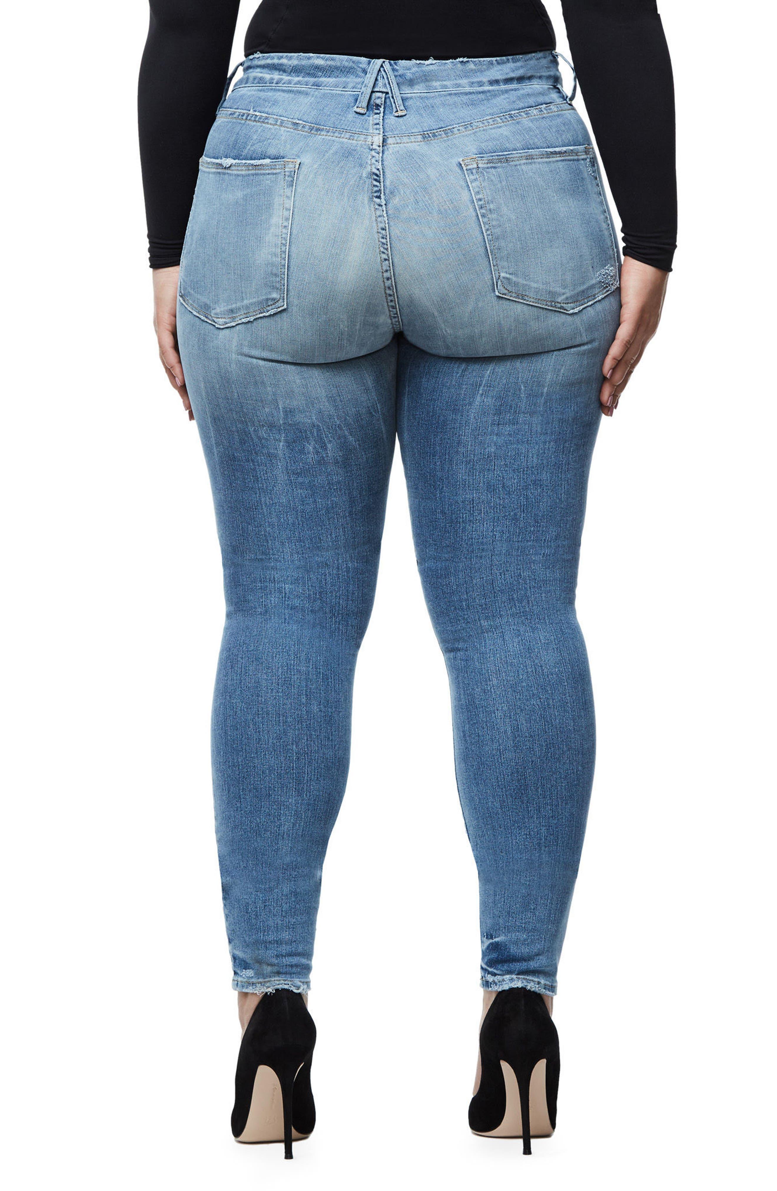 Alternate Image 5  - Good American Good Legs Ripped Skinny Jeans (Blue 068)