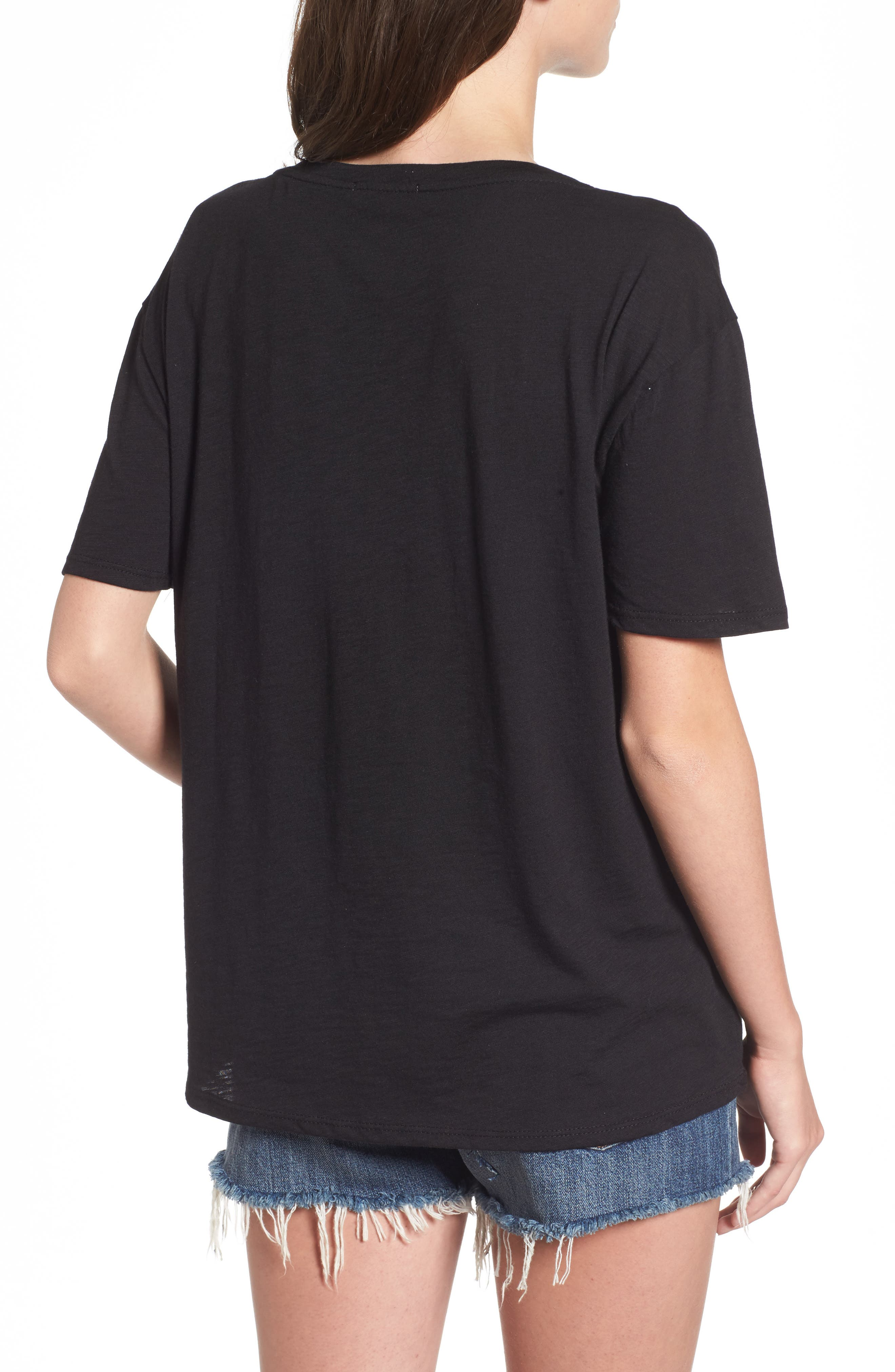 Andrea Mesh Inset Tee,                             Alternate thumbnail 2, color,                             Black