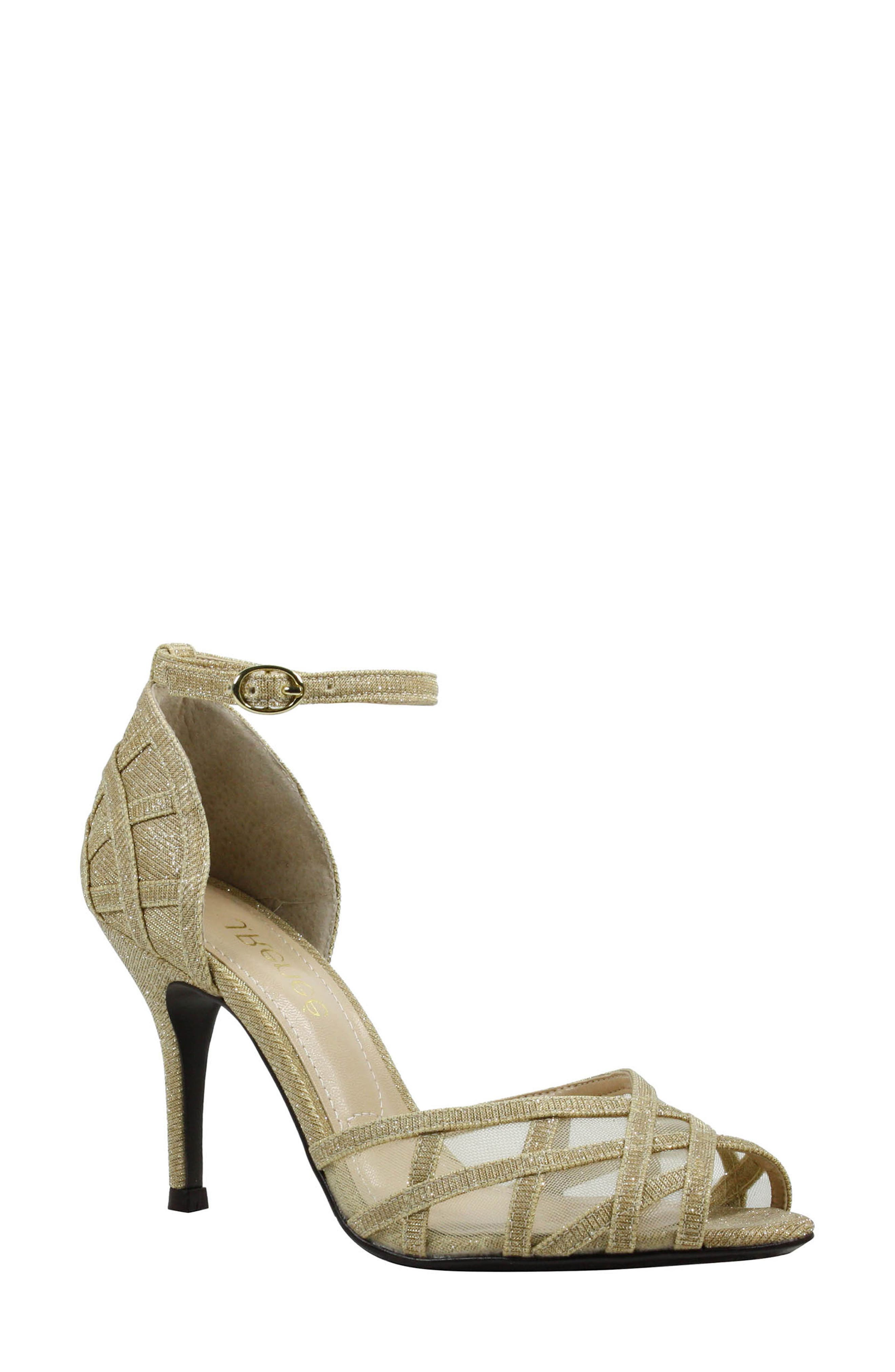 Mataro Embellished Ankle Strap Pump,                         Main,                         color, Gold Fabric