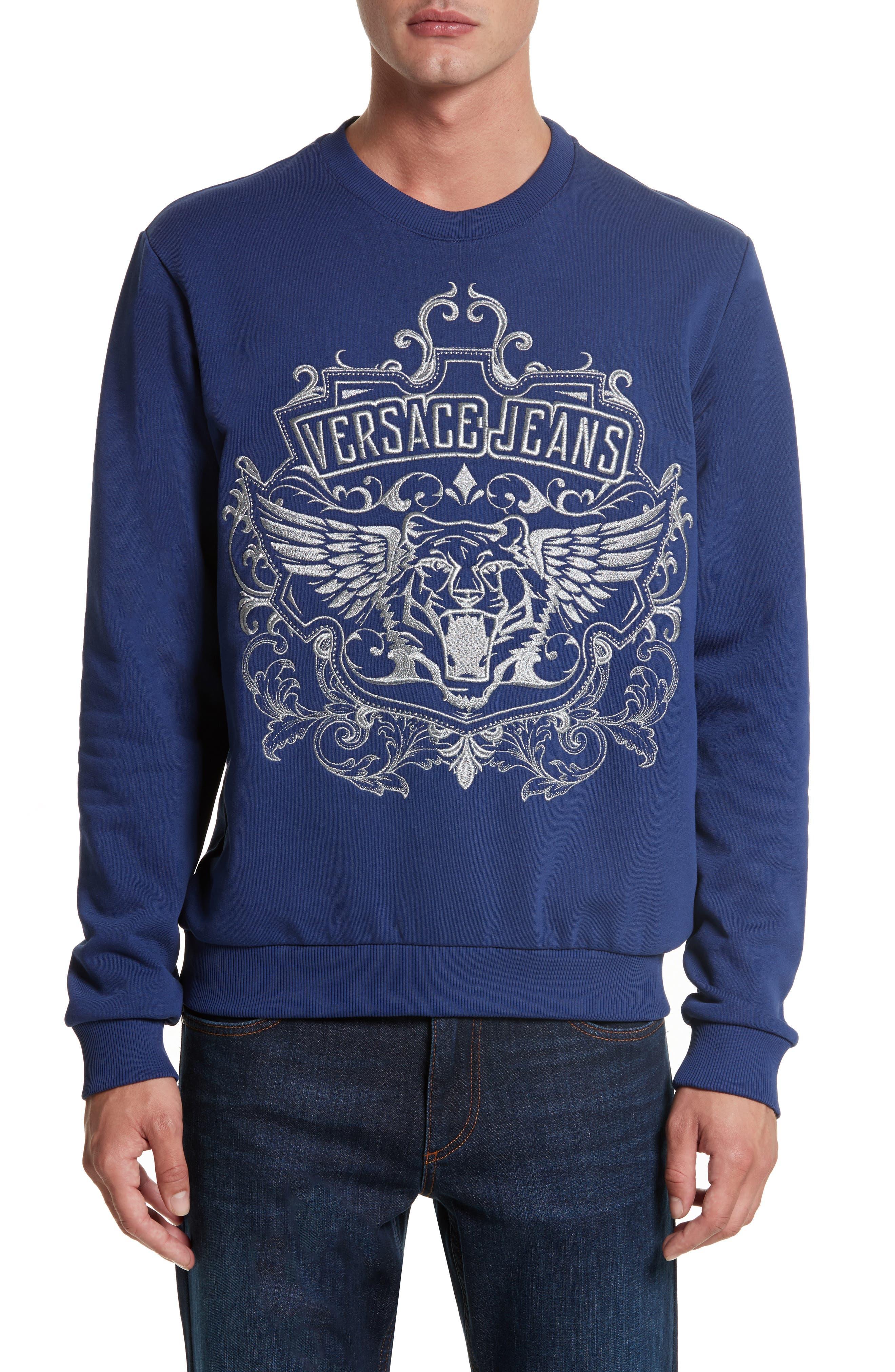 Embroidered Crewneck Sweatshirt,                         Main,                         color, Blue