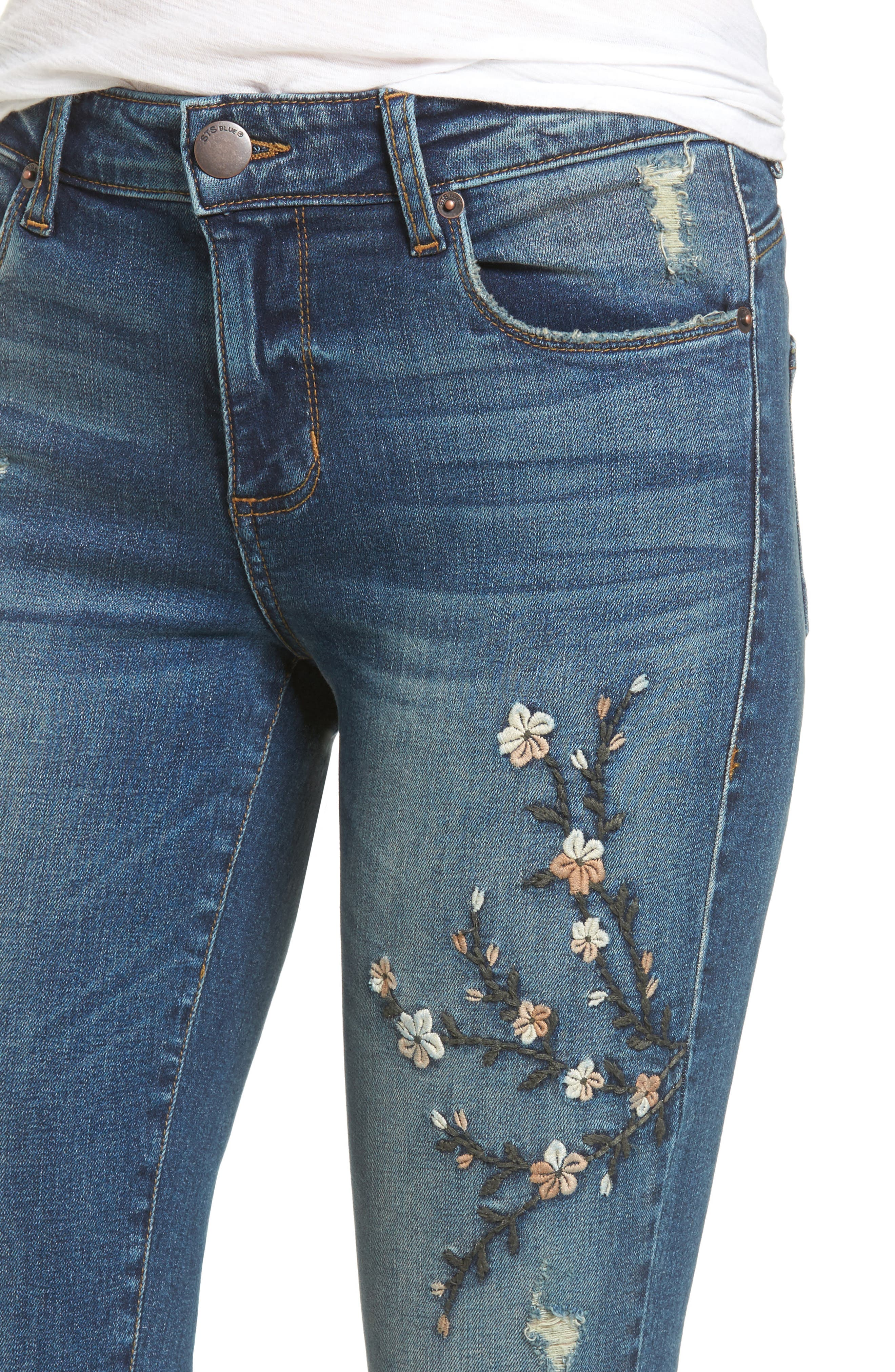 Alternate Image 4  - STS Blue Embroidered Skinny Jeans (Finsbury)