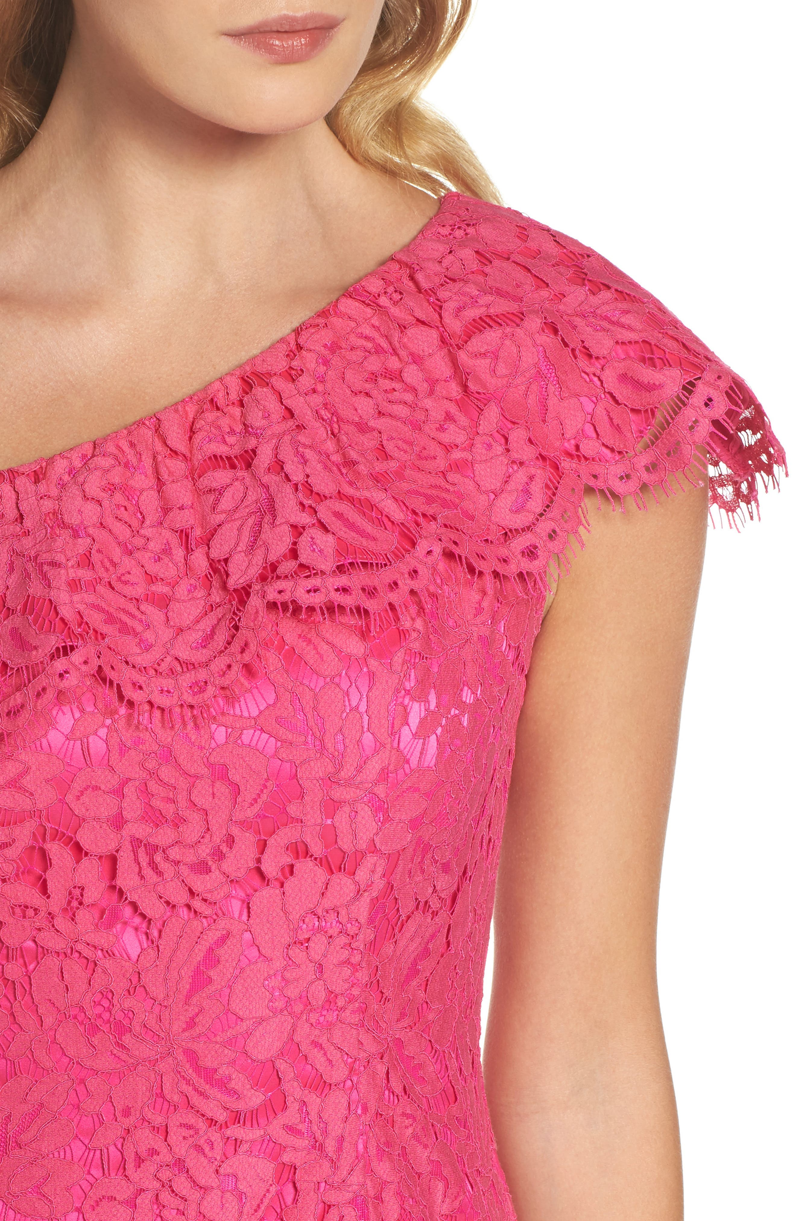 Ruffle Lace One-Shoulder Sheath Dress,                             Alternate thumbnail 4, color,                             Pink