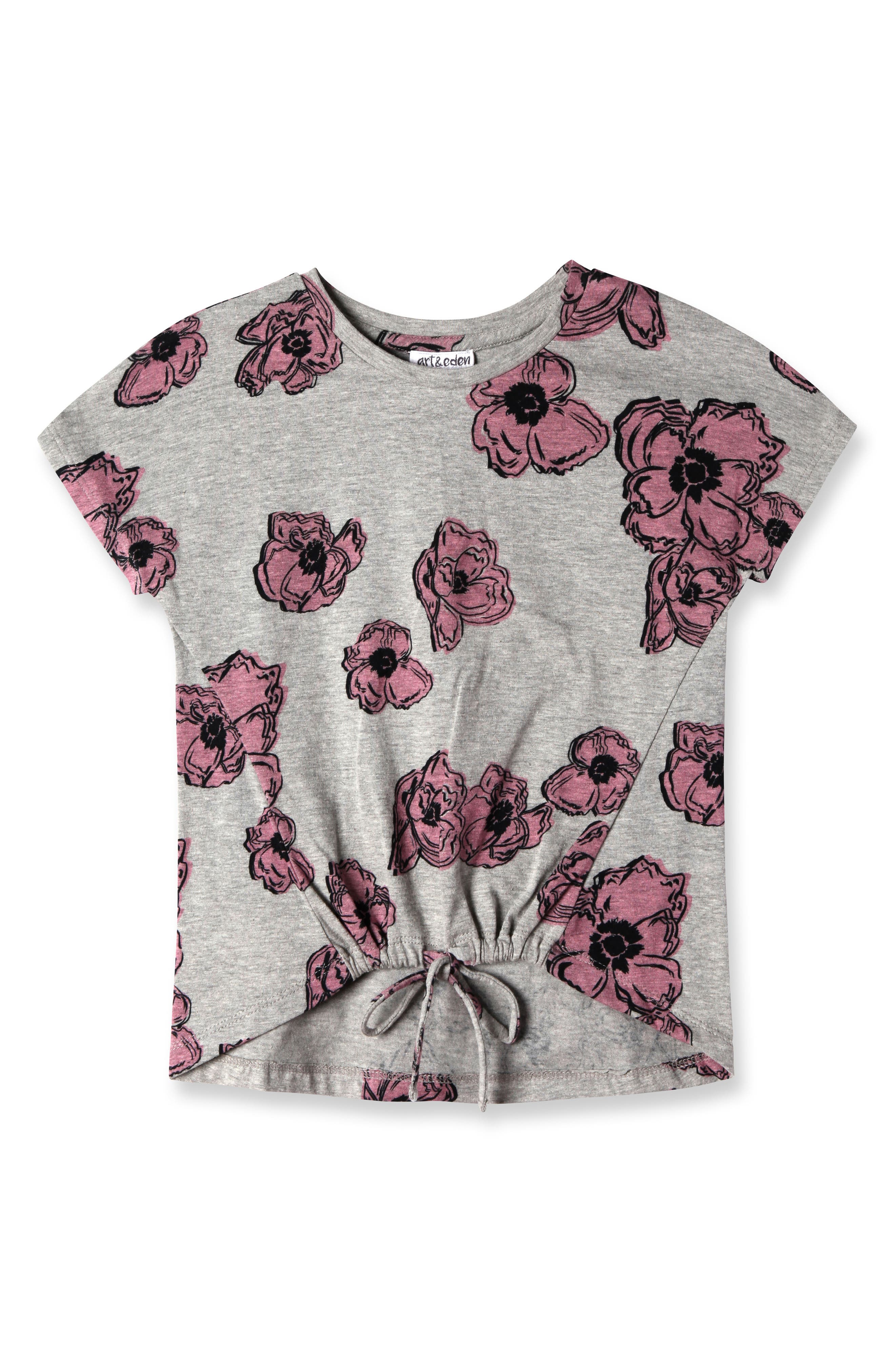 Emily Pink Poppies Shirt,                         Main,                         color, Grey