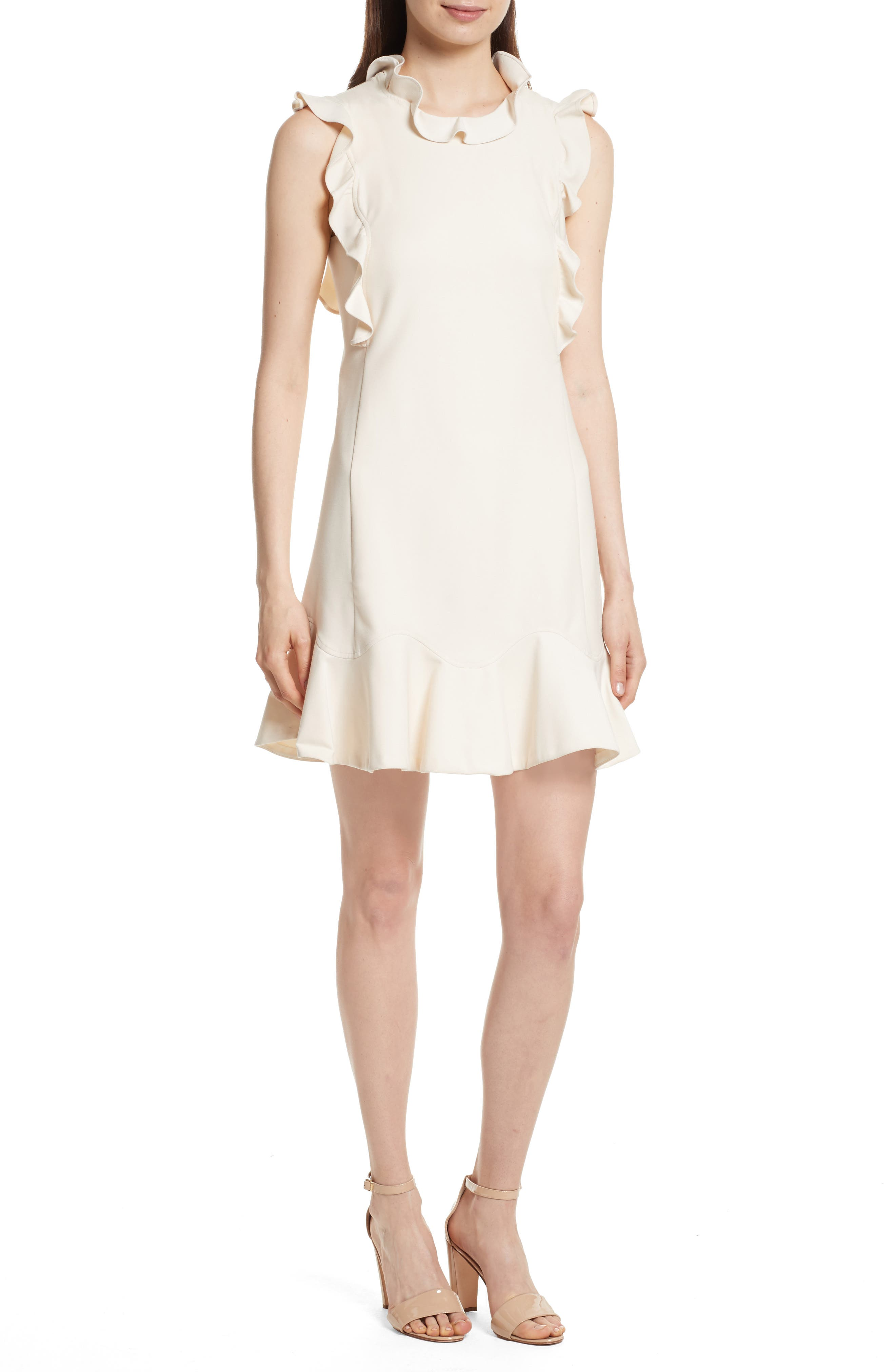 Ruffle Trim Suit Dress,                             Main thumbnail 1, color,                             Cream Combo