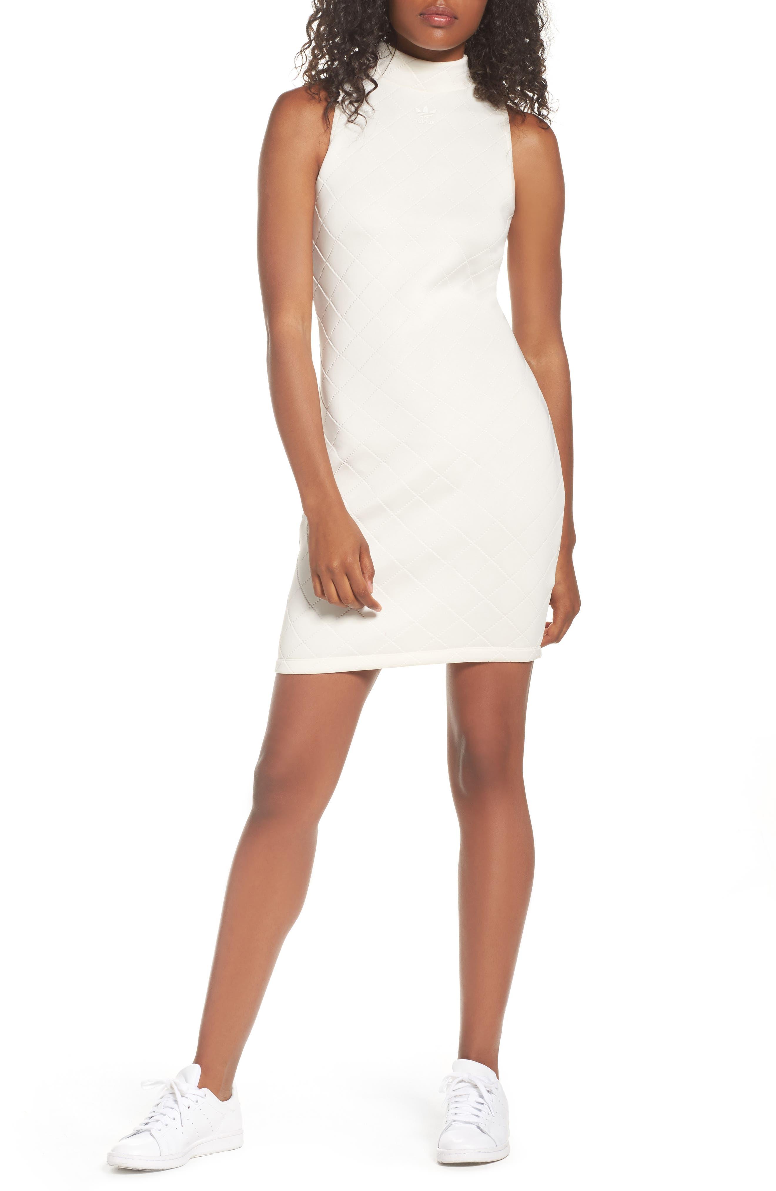 adidas Originals Mock Collar Quilted Body-Con Dress