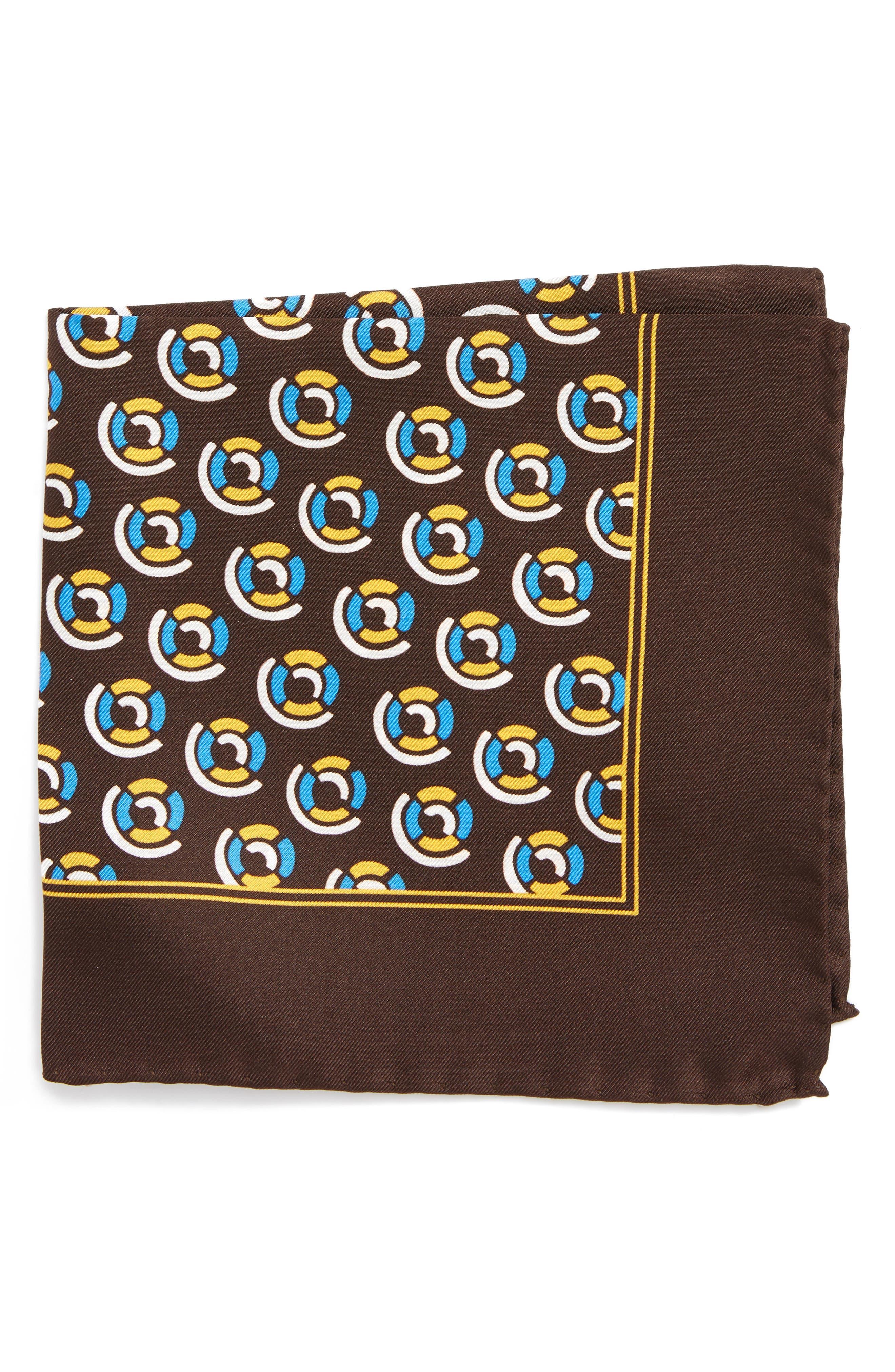 Medallion Silk Pocket Square,                         Main,                         color, Brown