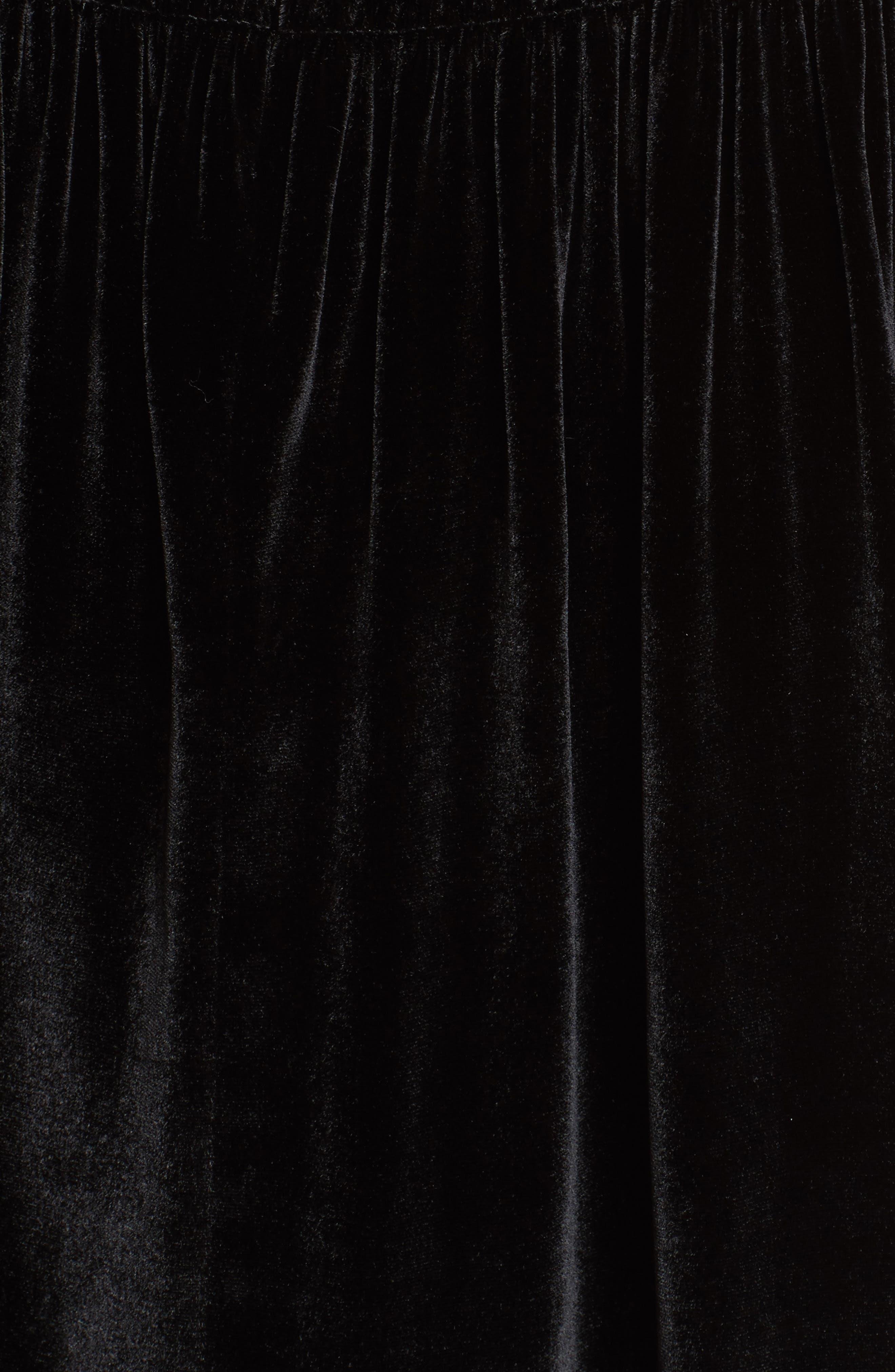 Short Sleeve Velvet Top,                             Alternate thumbnail 5, color,                             Black