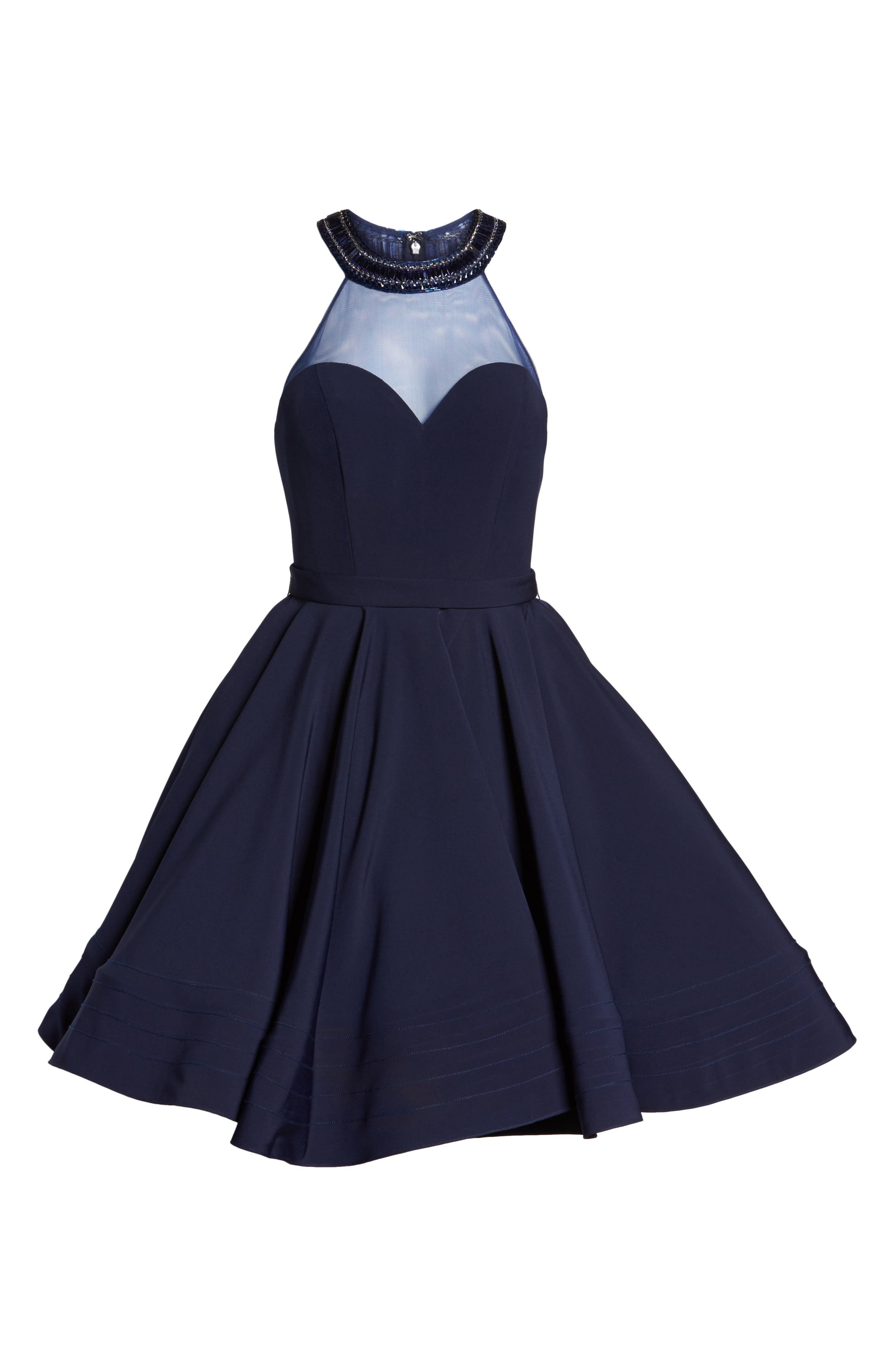 Beaded Illusion Neck Skater Dress,                             Alternate thumbnail 4, color,                             Midnight