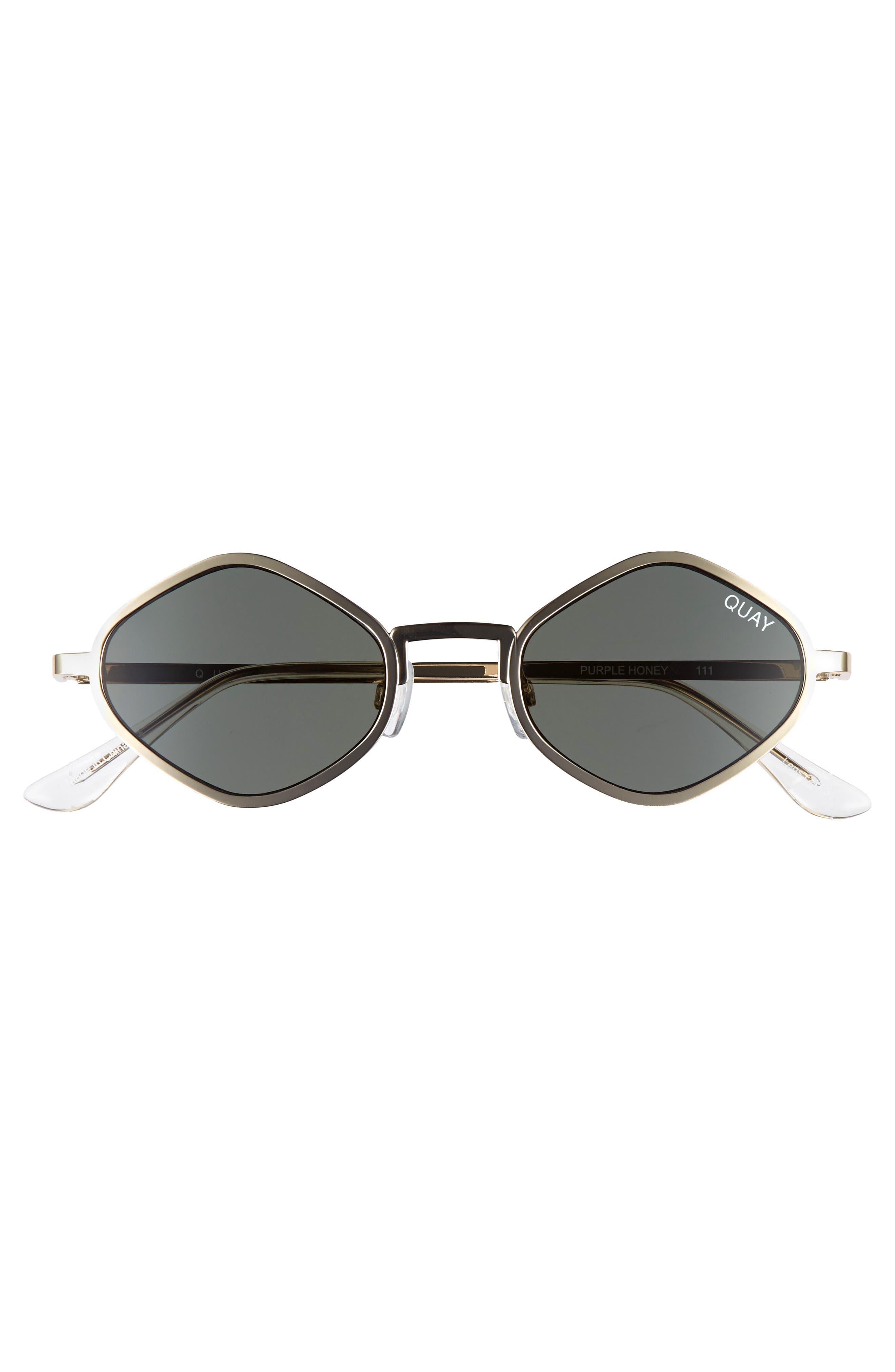 Purple Honey 48mm Geo Sunglasses,                             Alternate thumbnail 3, color,                             Gold/ Green