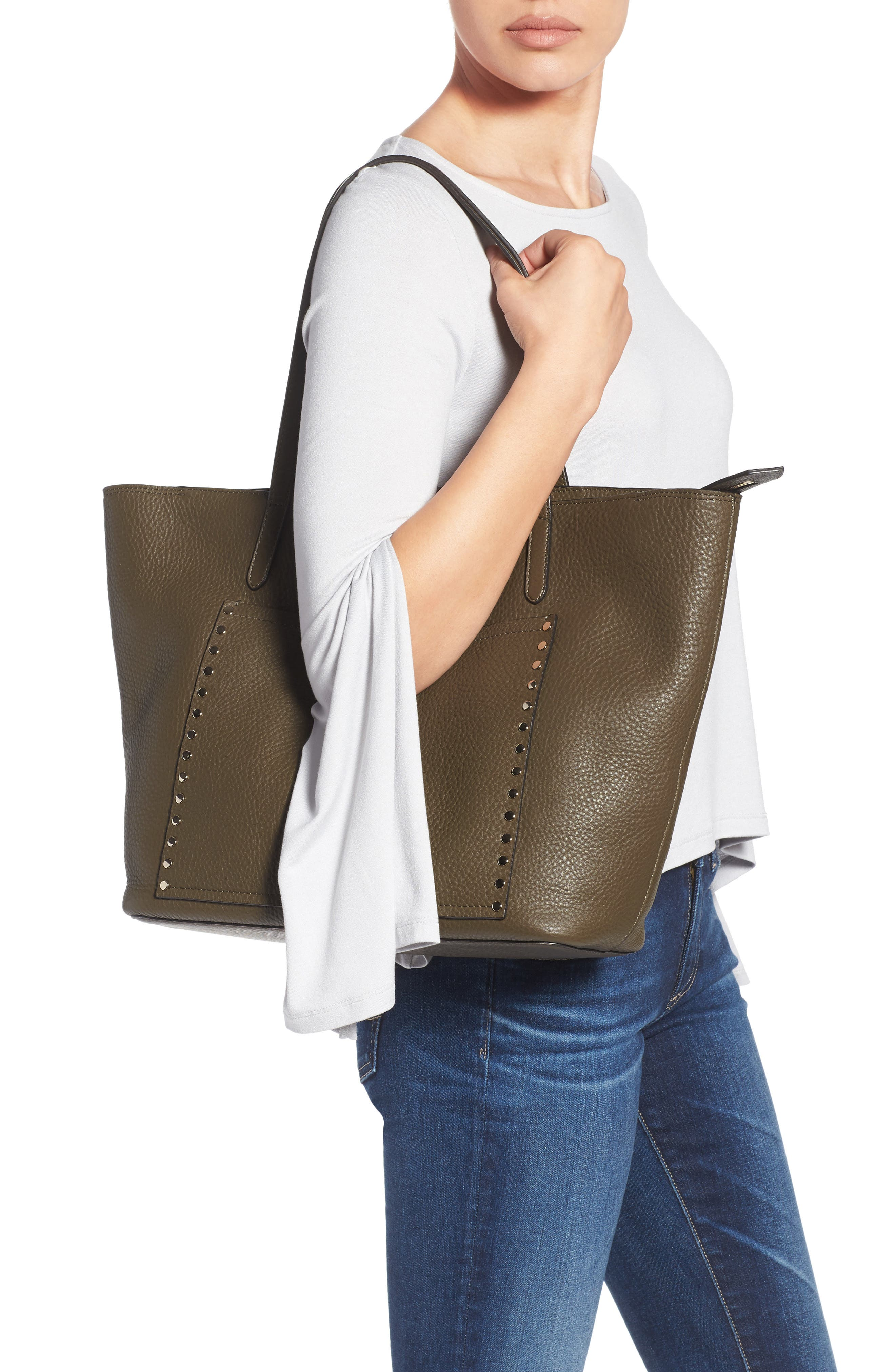 Unlined Front Pocket Leather Tote,                             Alternate thumbnail 2, color,                             Moss/ Light Gold Hardware