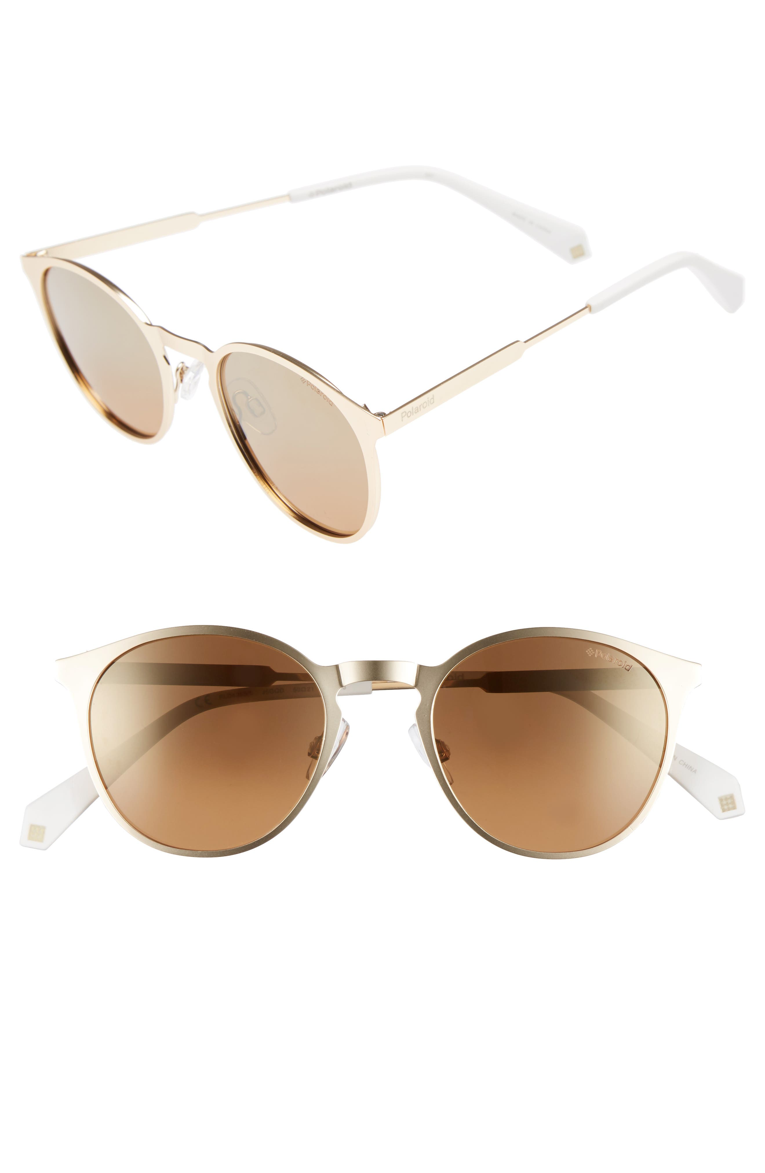 50mm Round Polarized Sunglasses,                             Main thumbnail 1, color,                             Gold