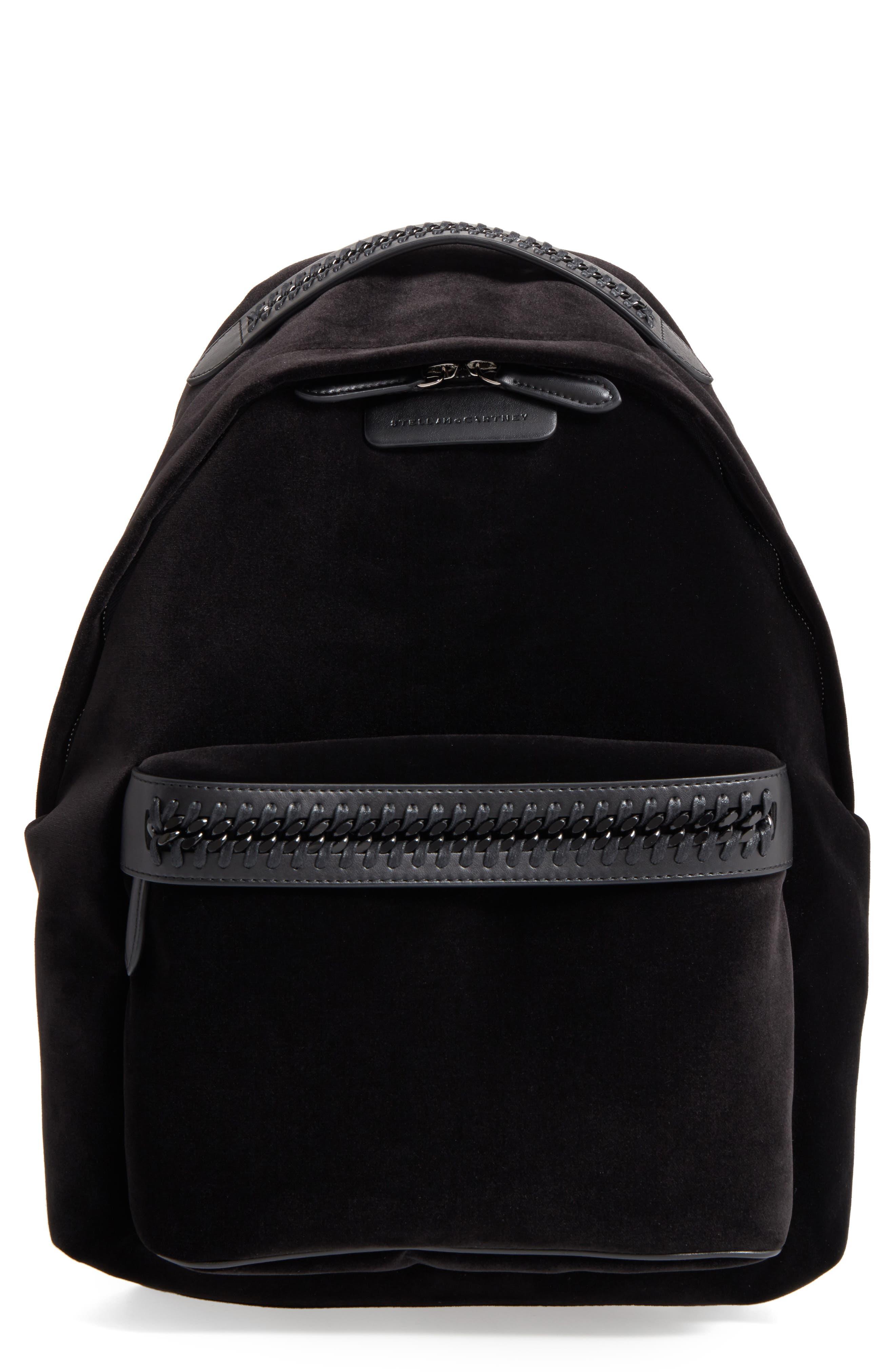 Medium Falabella Velvet Backpack,                         Main,                         color, Black
