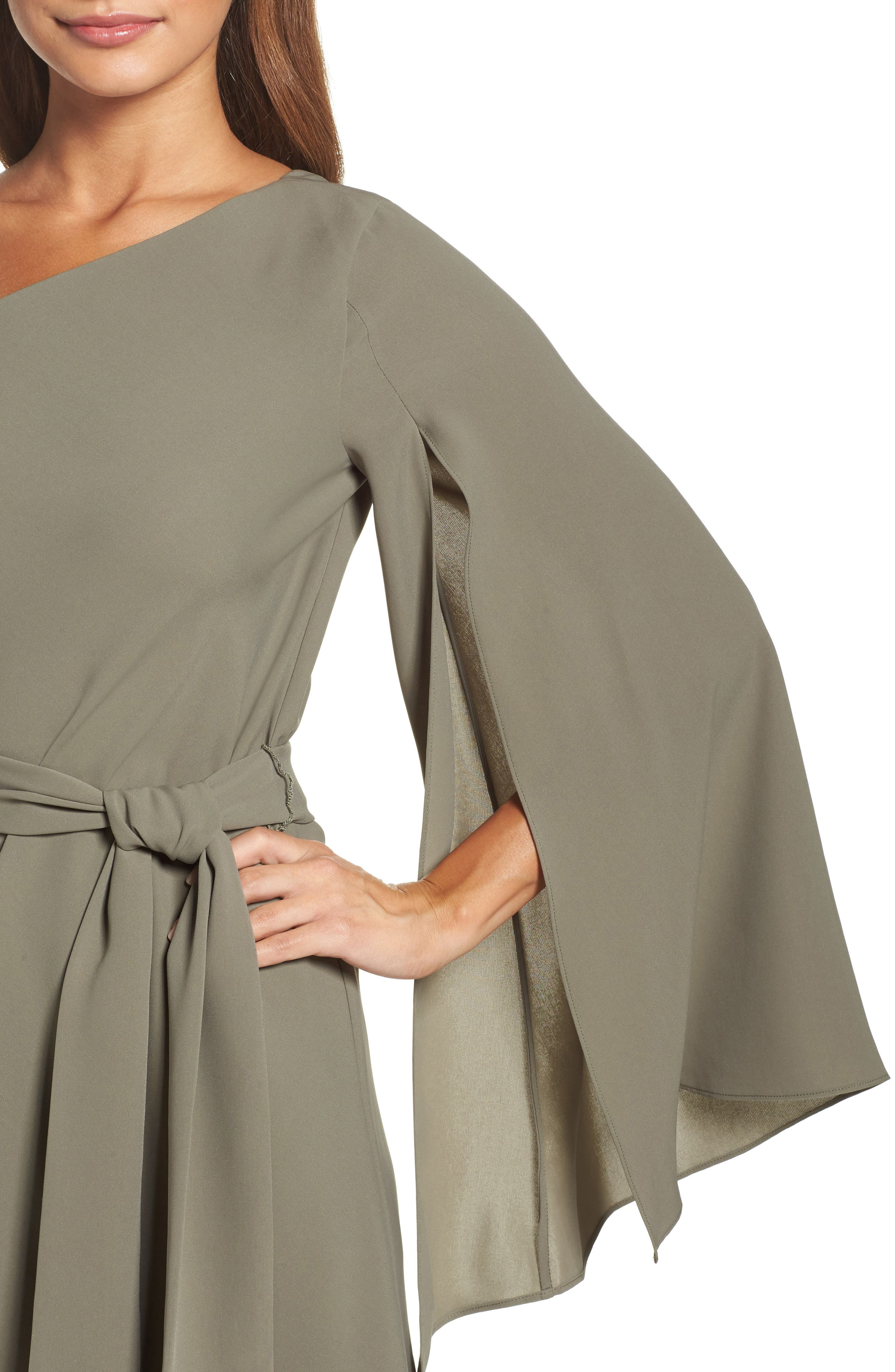 Beyond Me One-Shoulder Dress,                             Alternate thumbnail 5, color,                             Khaki
