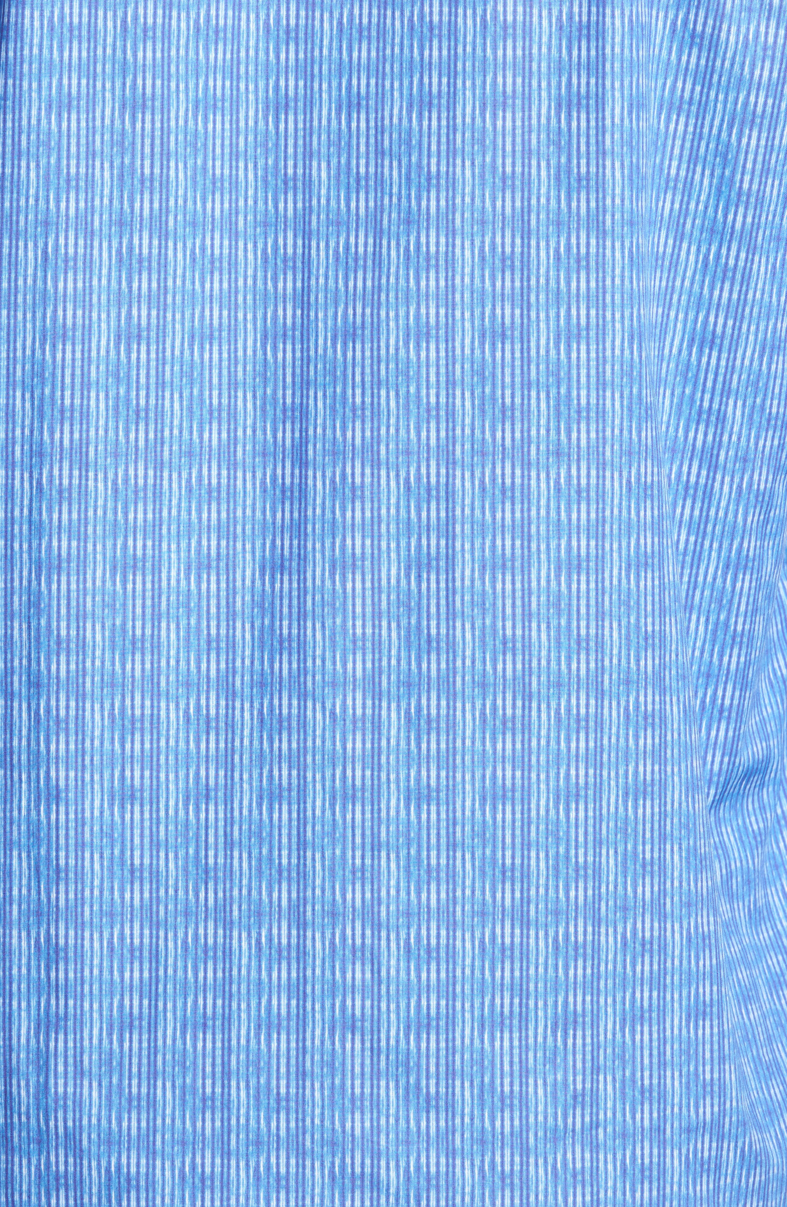 Shaped Fit Stripe Sport Shirt,                             Alternate thumbnail 5, color,                             Classic Blue