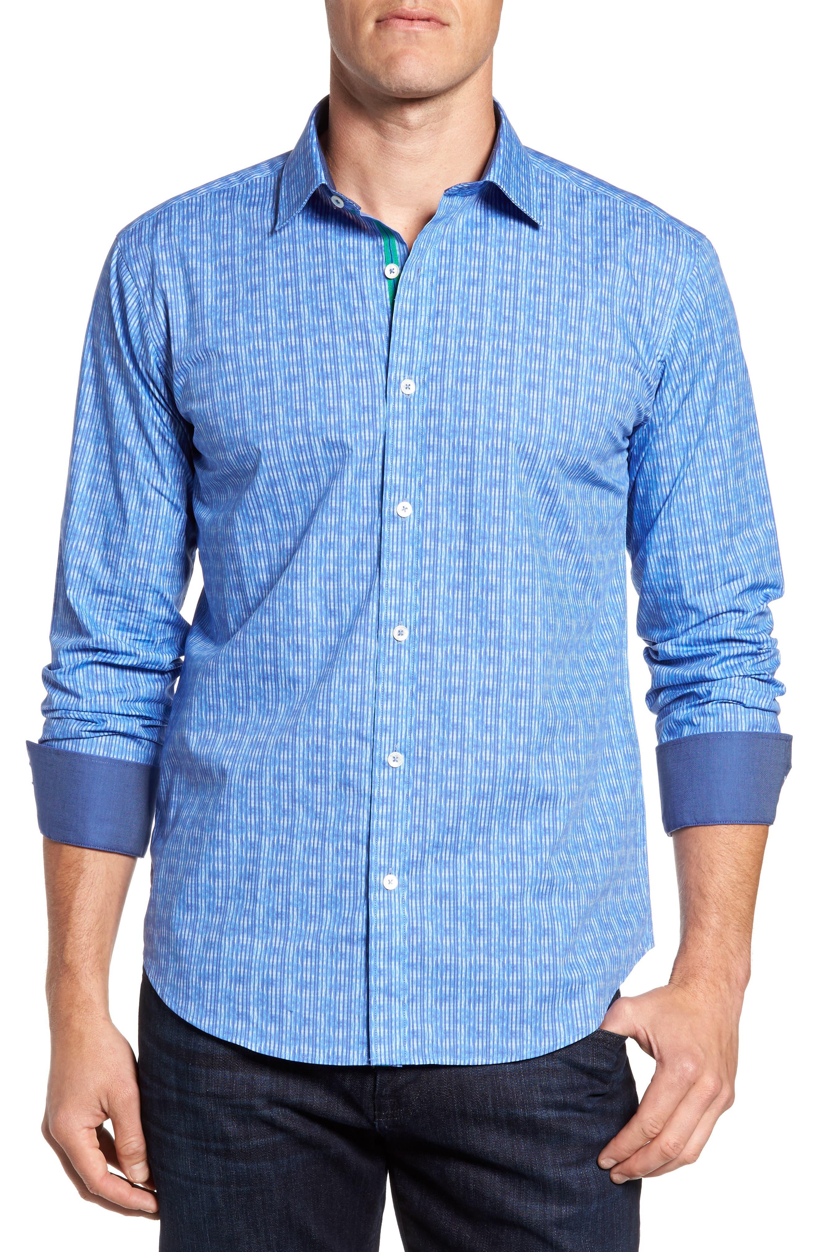 Shaped Fit Stripe Sport Shirt,                             Alternate thumbnail 4, color,                             Classic Blue