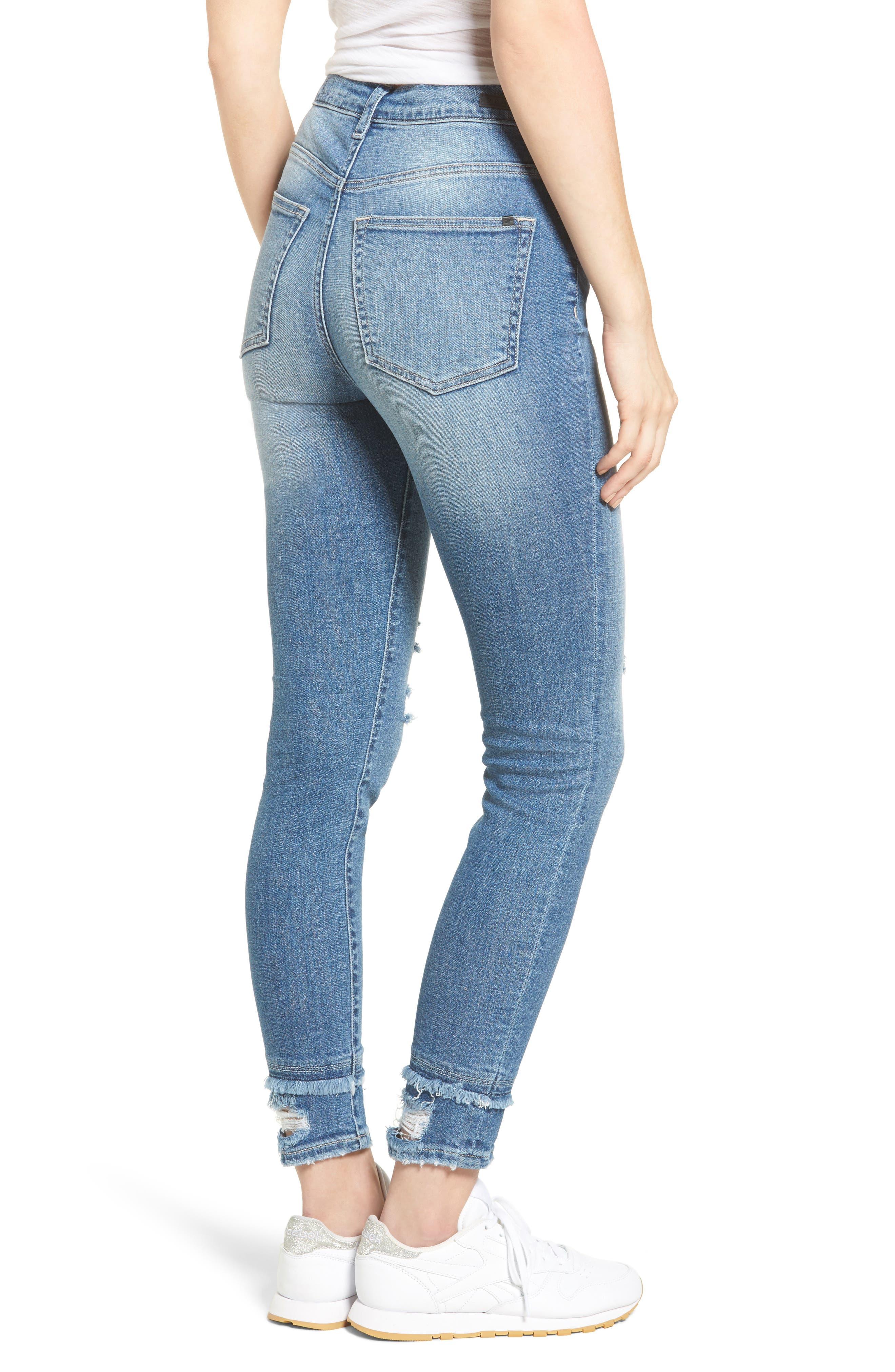 Alternate Image 2  - SP Black Double Hem Skinny Jeans