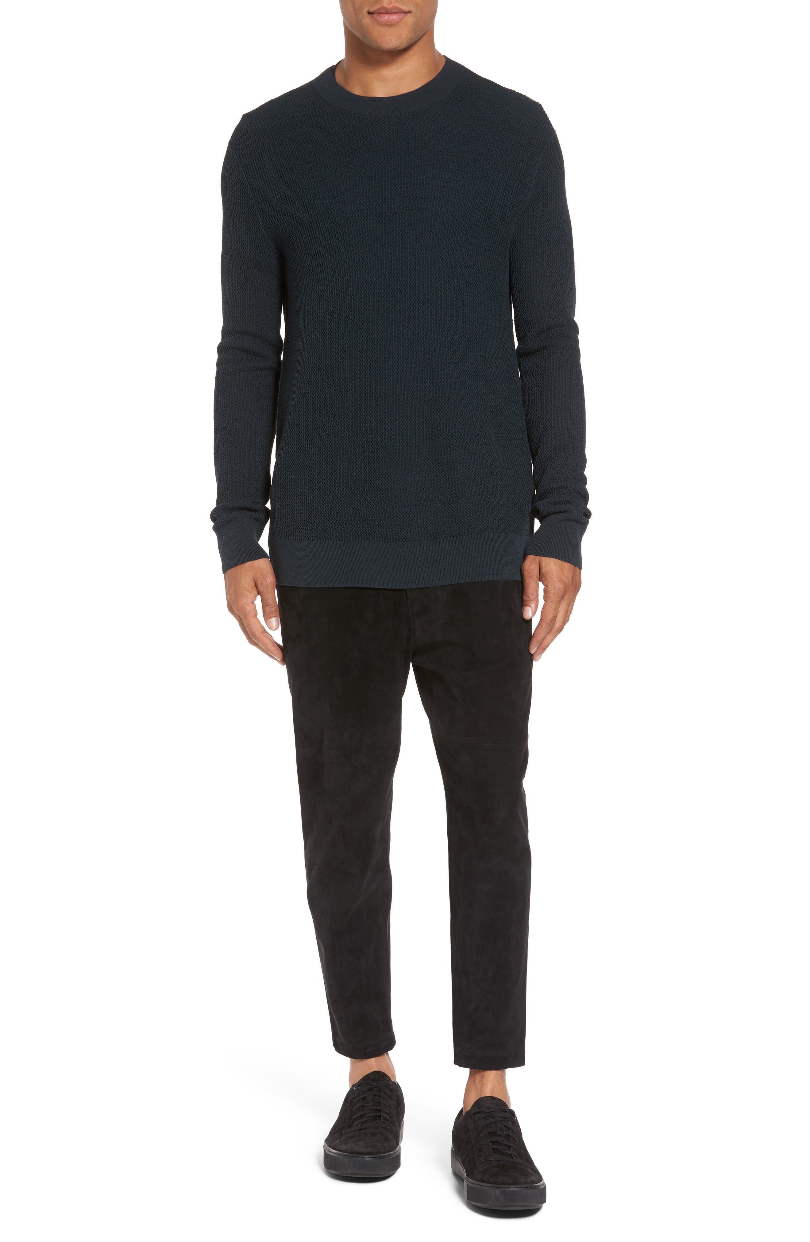 Mesh Crewneck Sweater,                             Alternate thumbnail 7, color,                             Midnight Forest